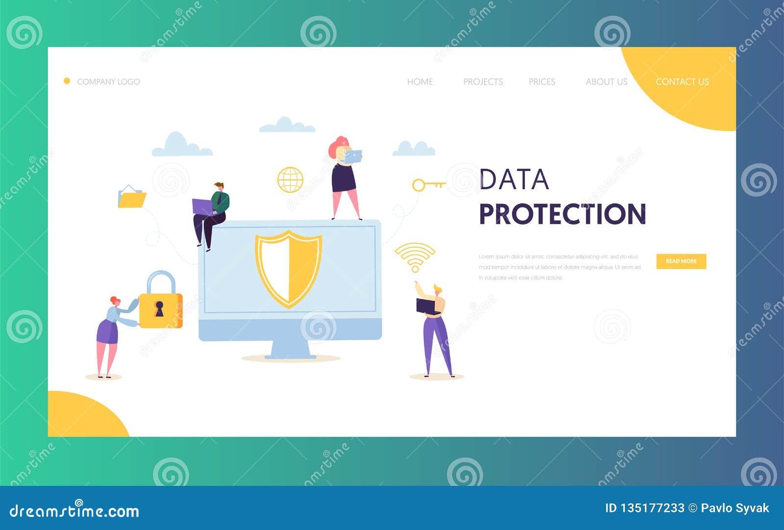 Página del aterrizaje de la red de la seguridad de los datos de Internet Encripción de la aislamiento del servidor del icono de l