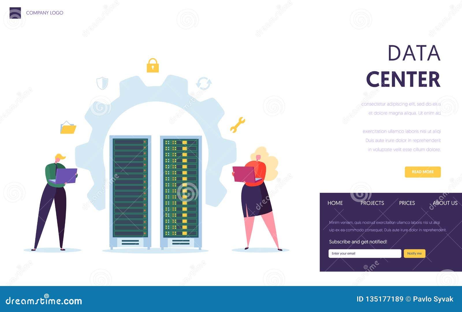Página del aterrizaje del personal del servidor de Data Center Ayuda Datacenter del carácter del negocio con el recibimiento de l