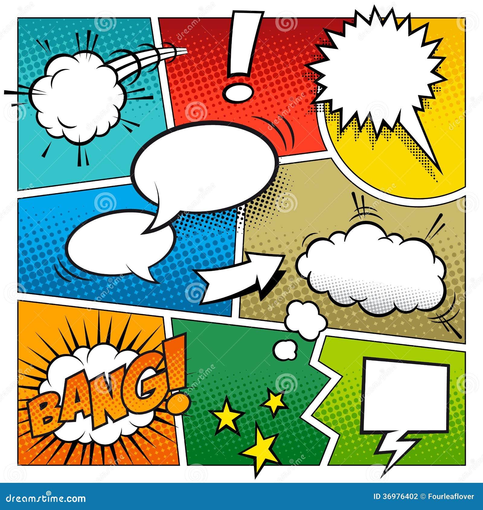 Página del cómic del vector del color