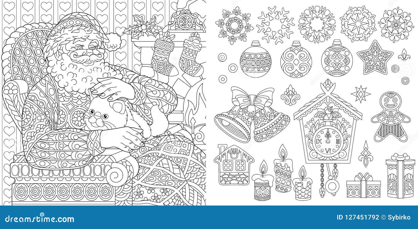 Página Del Colorante De La Navidad Del Año Nuevo Ilustración Del