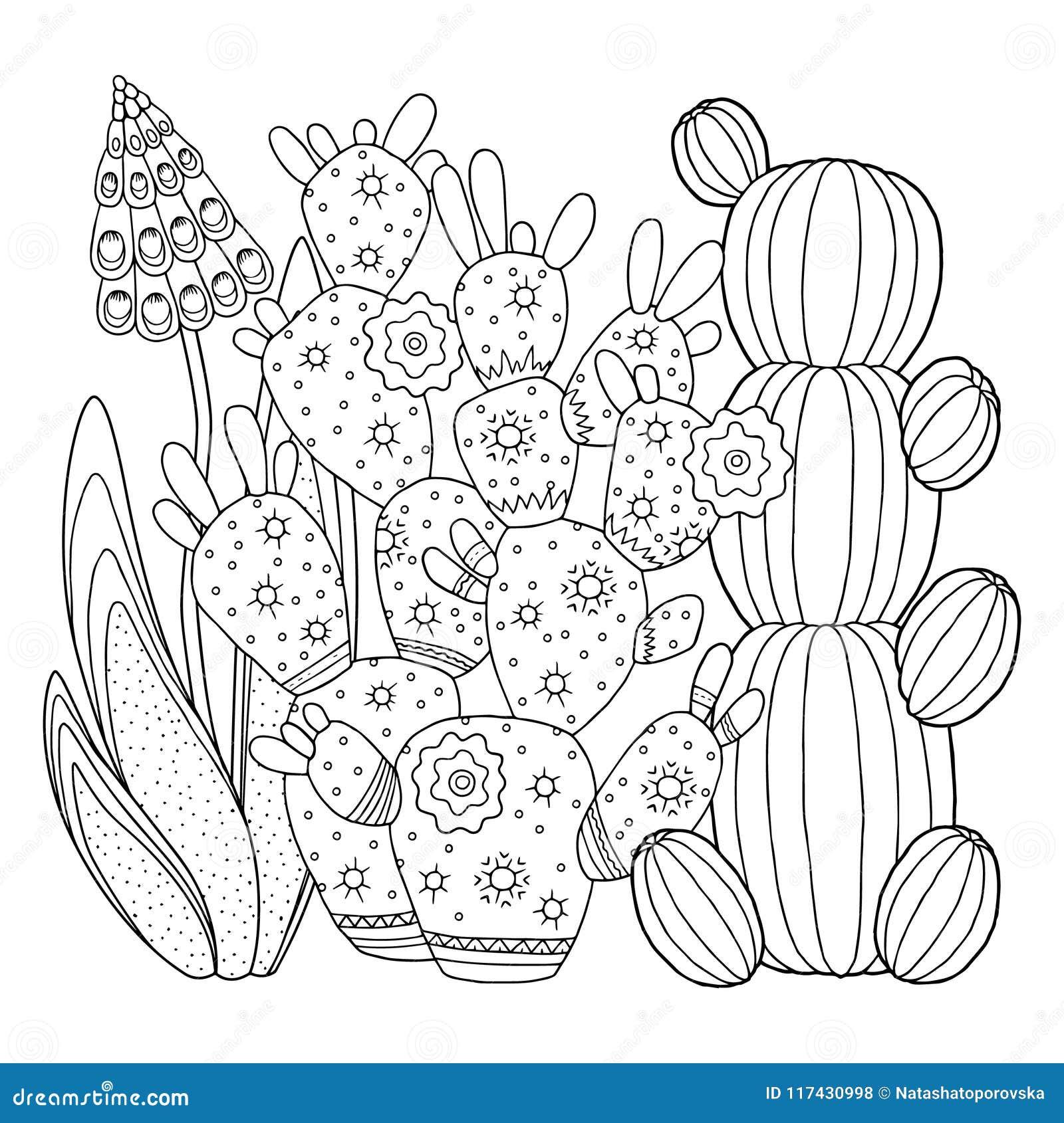 Página Del Colorante Del Vector Imagen Linear En El Cactus