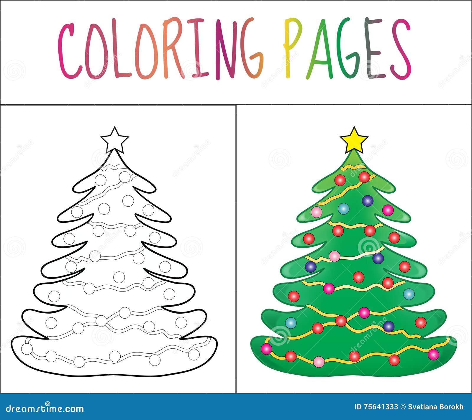 Página Del Libro De Colorear, Año Nuevo Del árbol De Navidad, La ...
