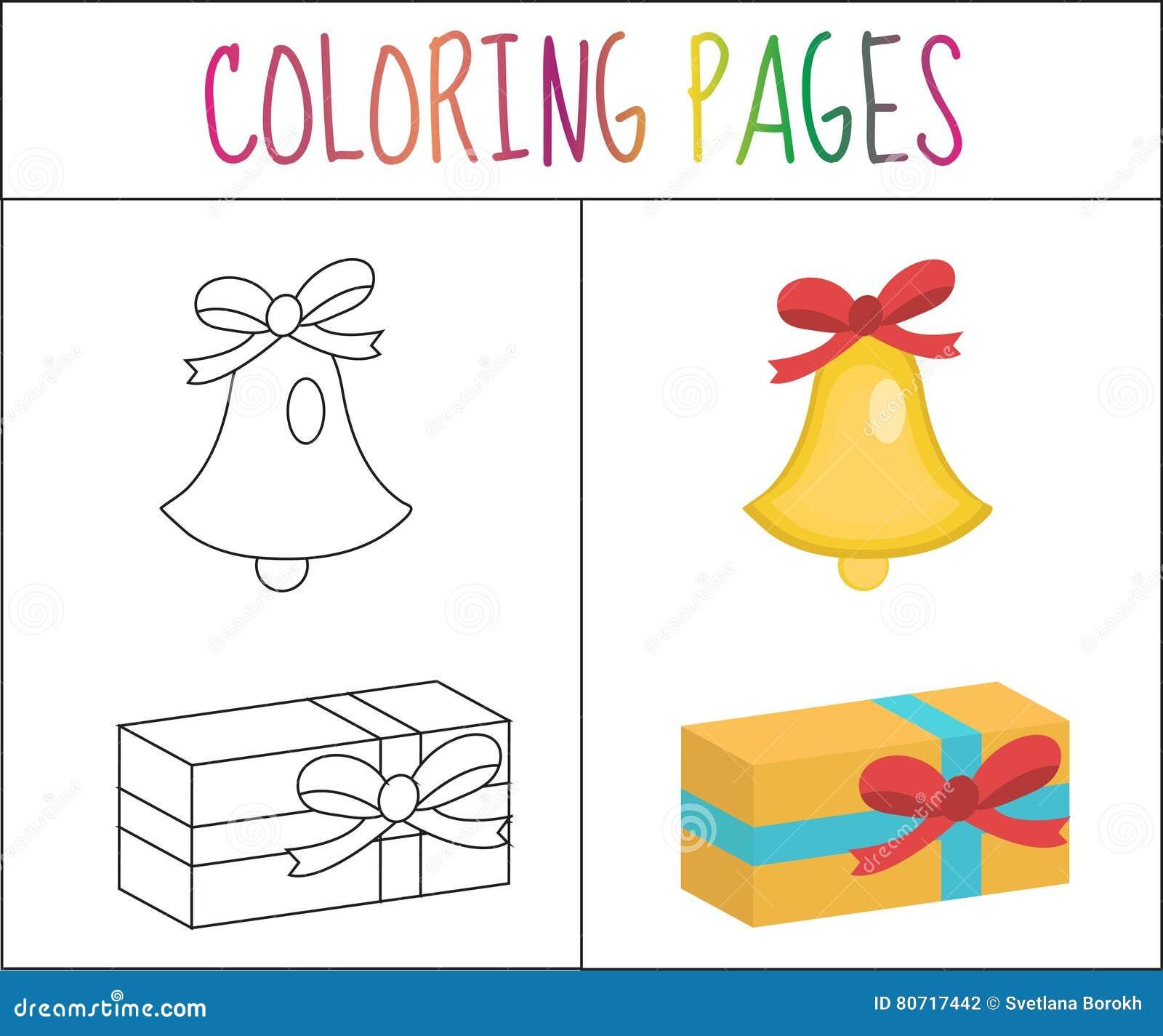 Página Del Libro De Colorear Campana De La Navidad, Regalo Versión ...