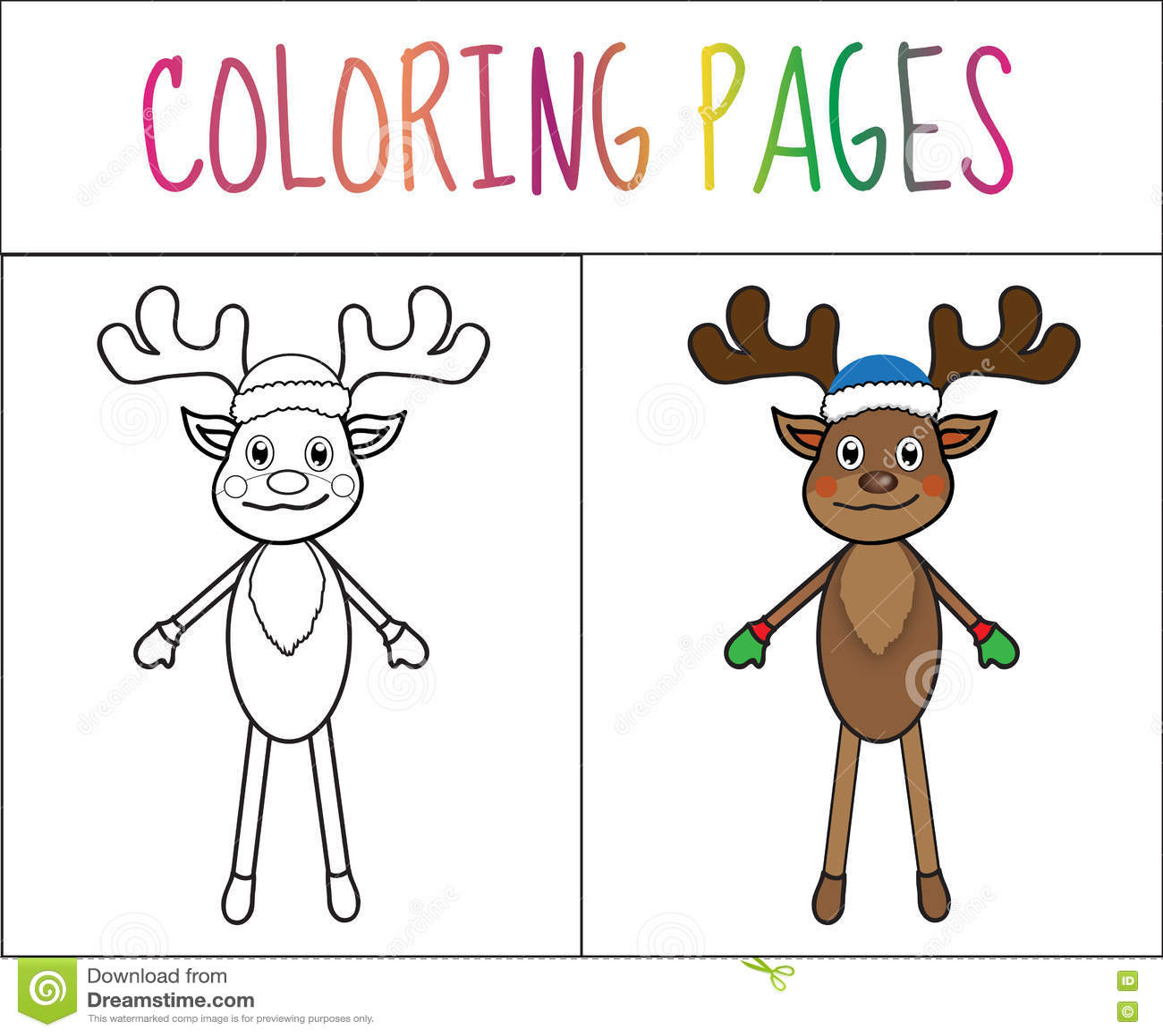 Página Del Libro De Colorear, Ciervo, Año Nuevo, La Navidad Versión ...