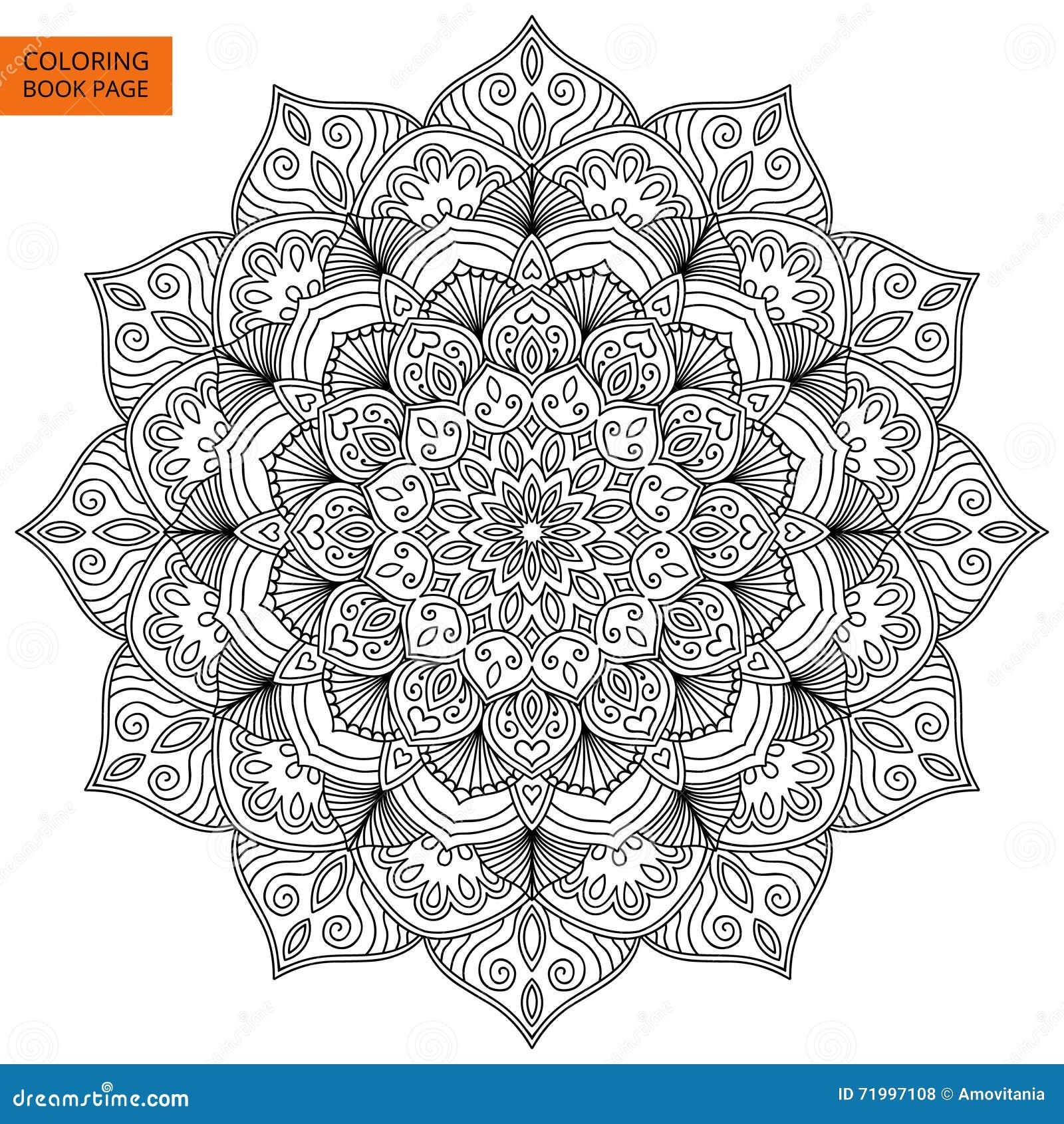 página del libro de colorear con la mandala de la flor