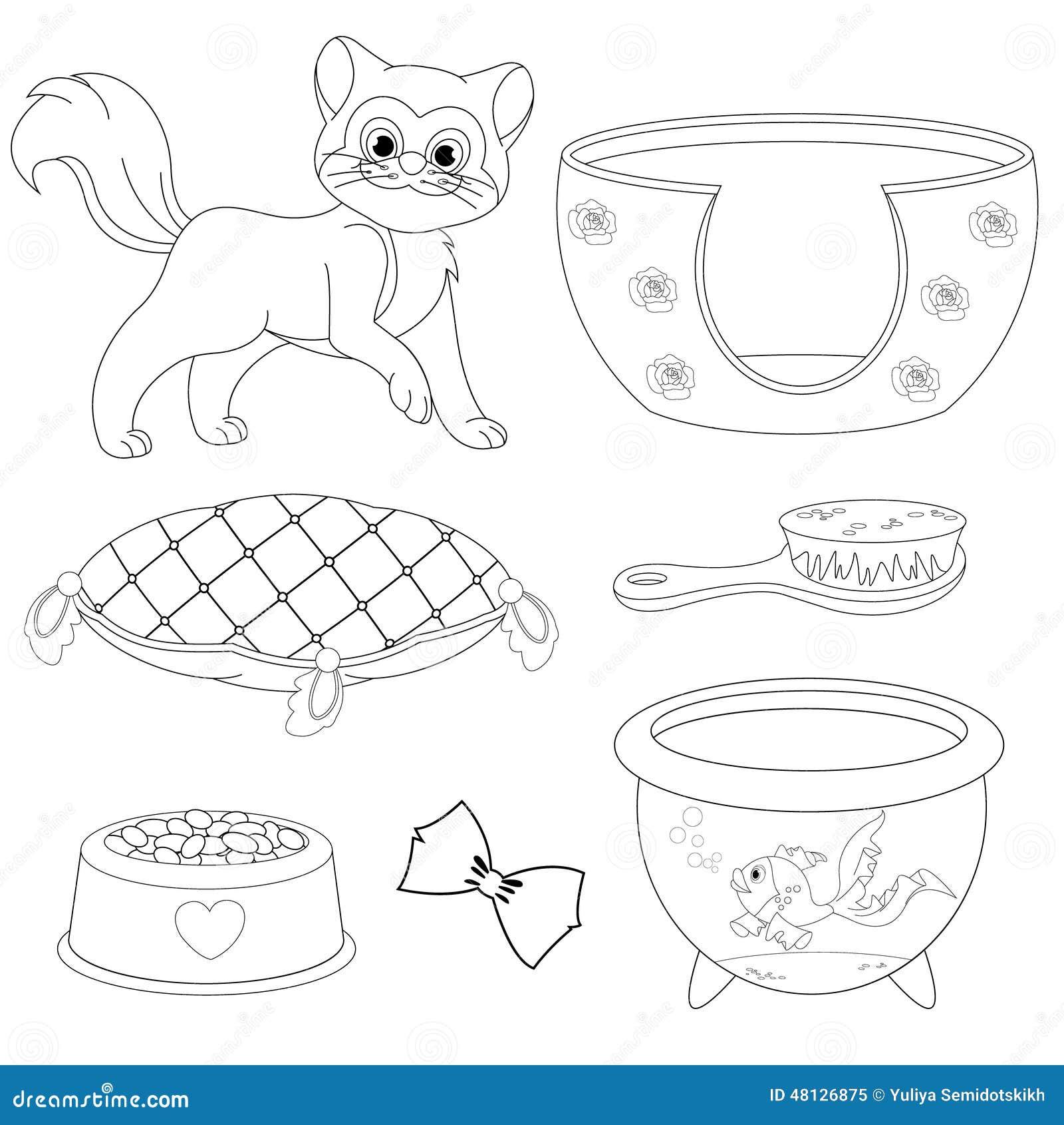 Página Del Libro De Colorear De Los Accesorios De Cat With Different ...