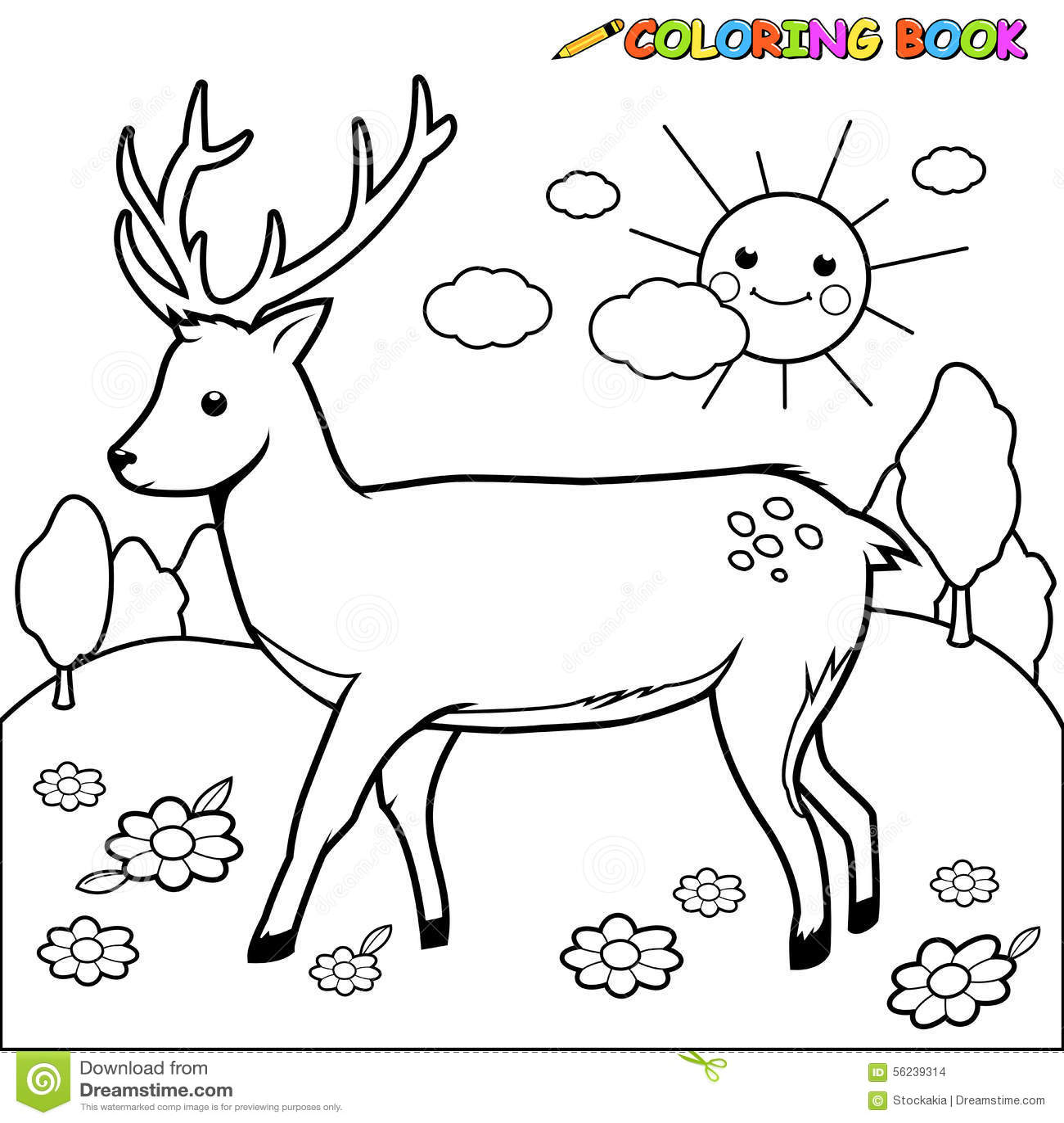 Página Del Libro De Colorear De Los Ciervos Ilustración del Vector ...
