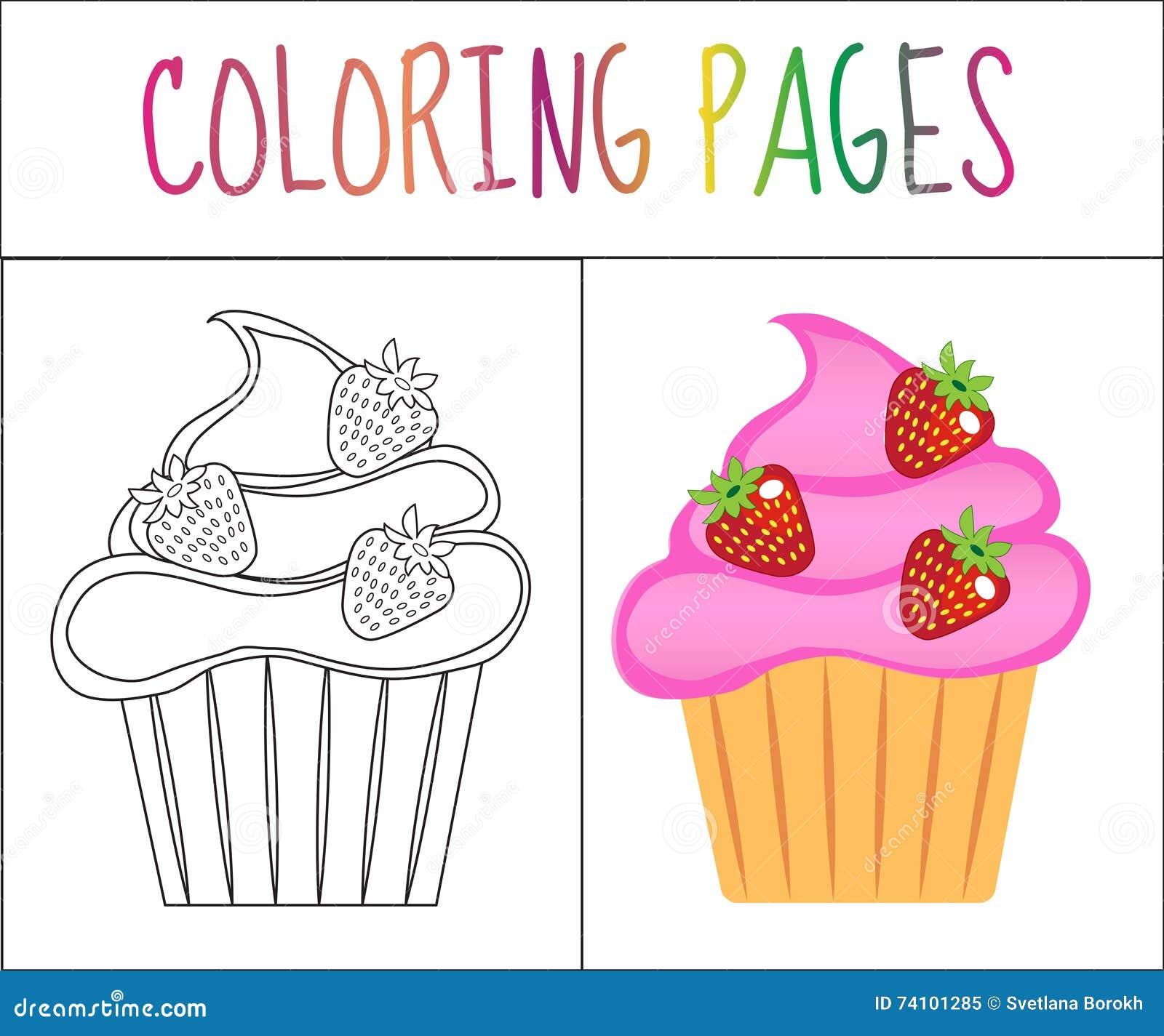 Página Del Libro De Colorear Magdalenas, Torta Versión Del Bosquejo ...