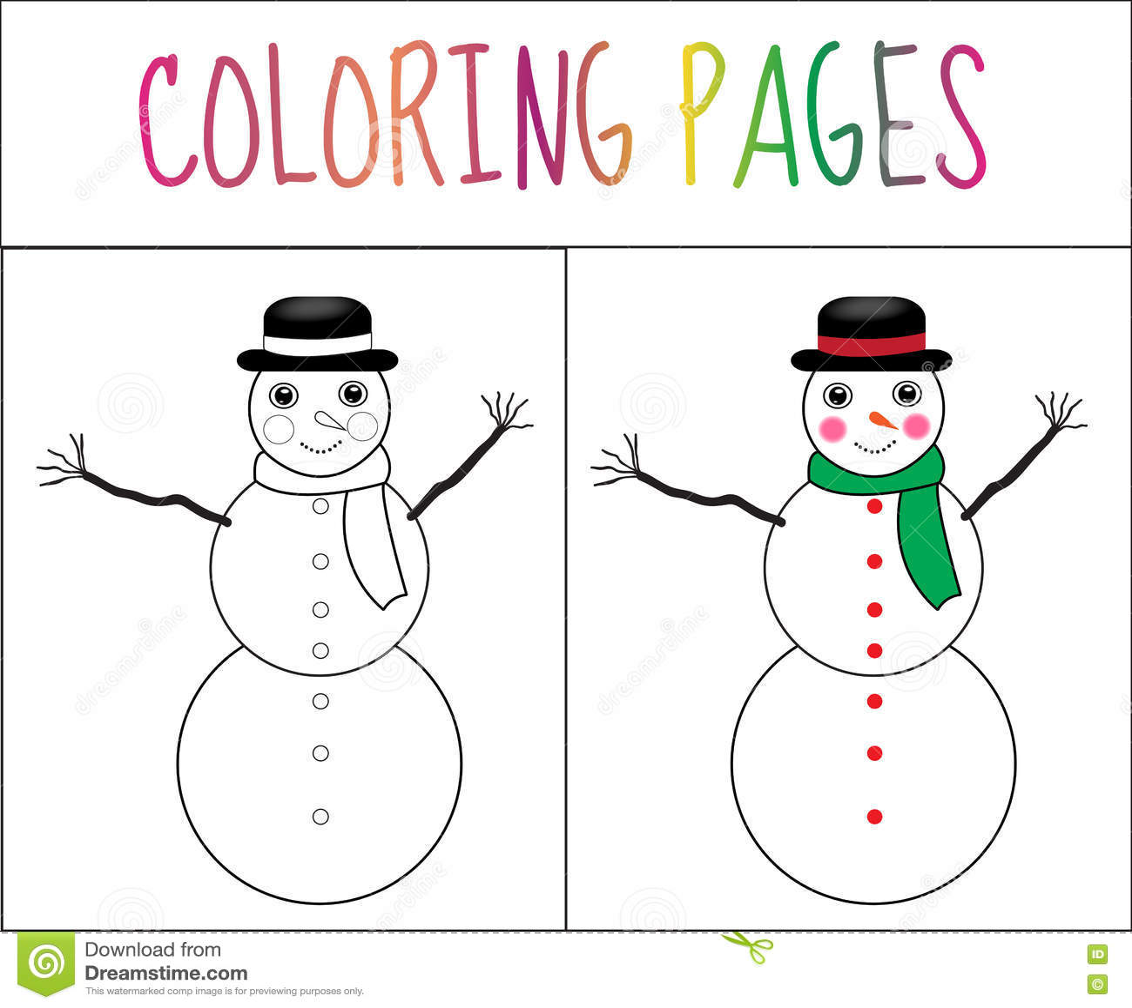 Vistoso Páginas De Color Muñeco De Nieve Cresta - Ideas Para ...