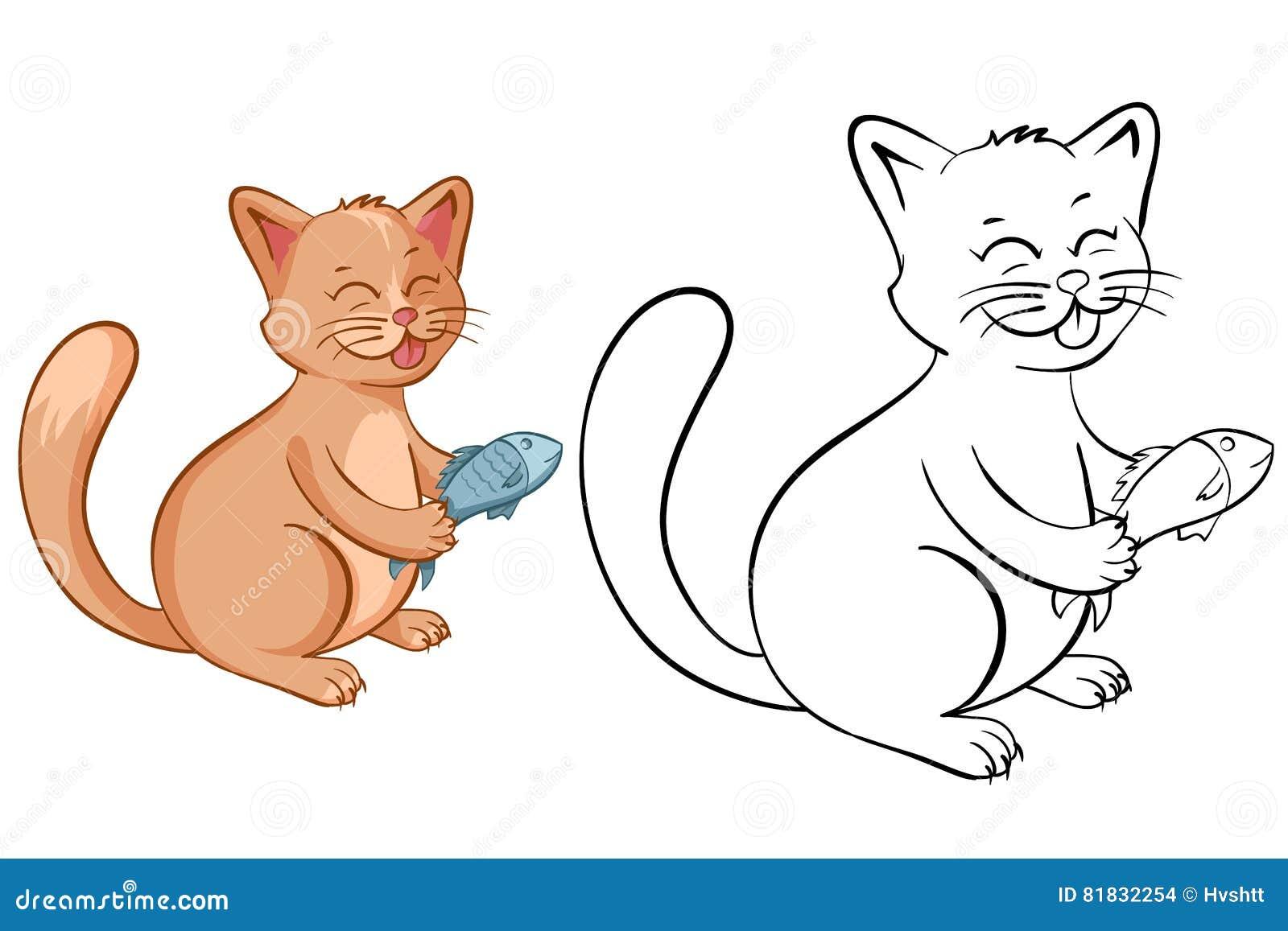 Página Del Libro De Colorear Para Los Niños Con El Gato Divertido De ...