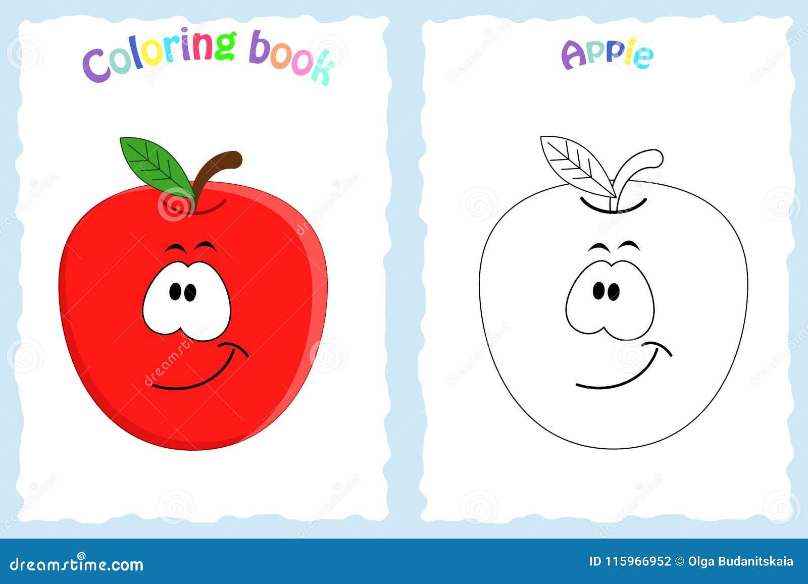 Página Del Libro De Colorear Para Los Niños Con La Manzana Colorida ...
