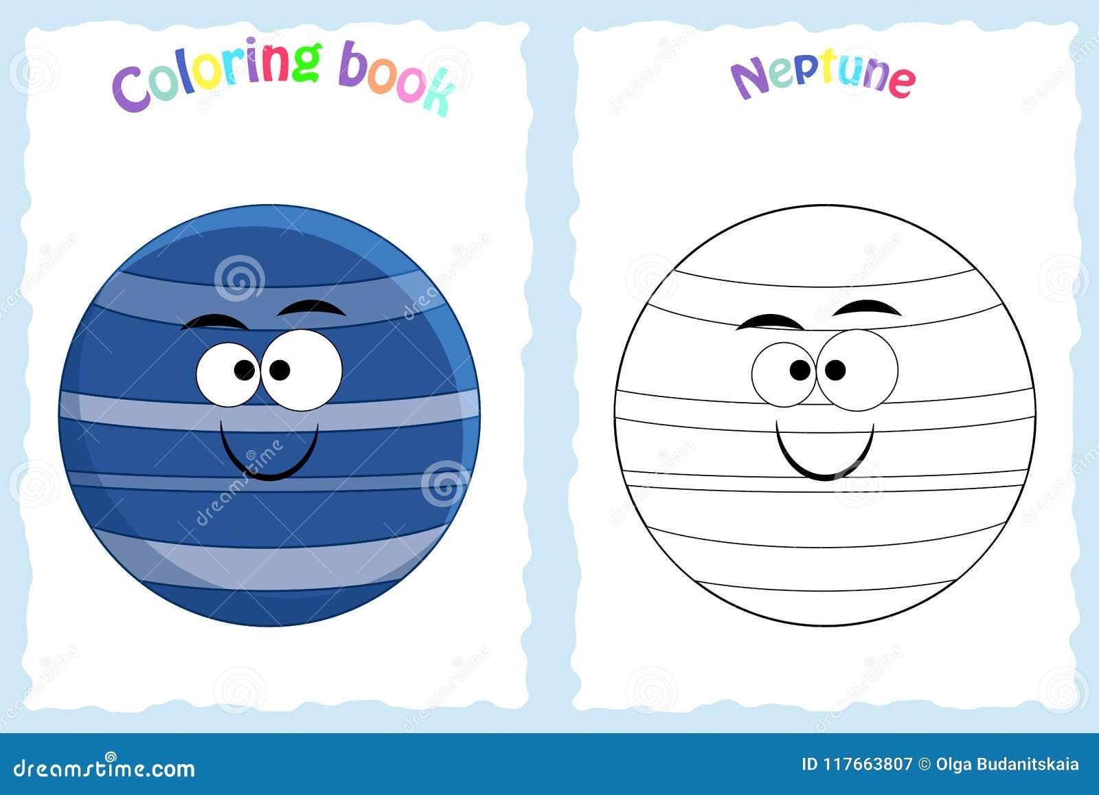 Página Del Libro De Colorear Para Los Niños Preescolares Con Neptuno ...