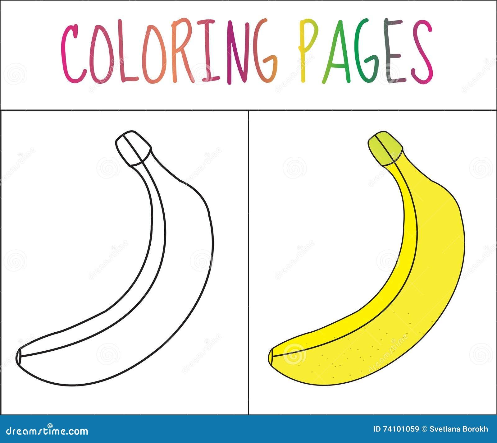 Página del libro de colorear Plátano Versión del bosquejo y del color colorante para los niños Ilustración del vector