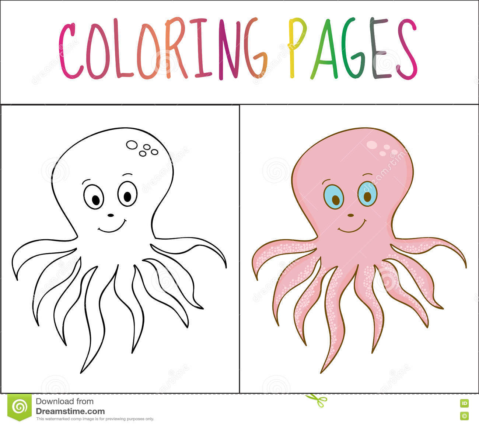 Página Del Libro De Colorear Pulpo Versión Del Bosquejo Y