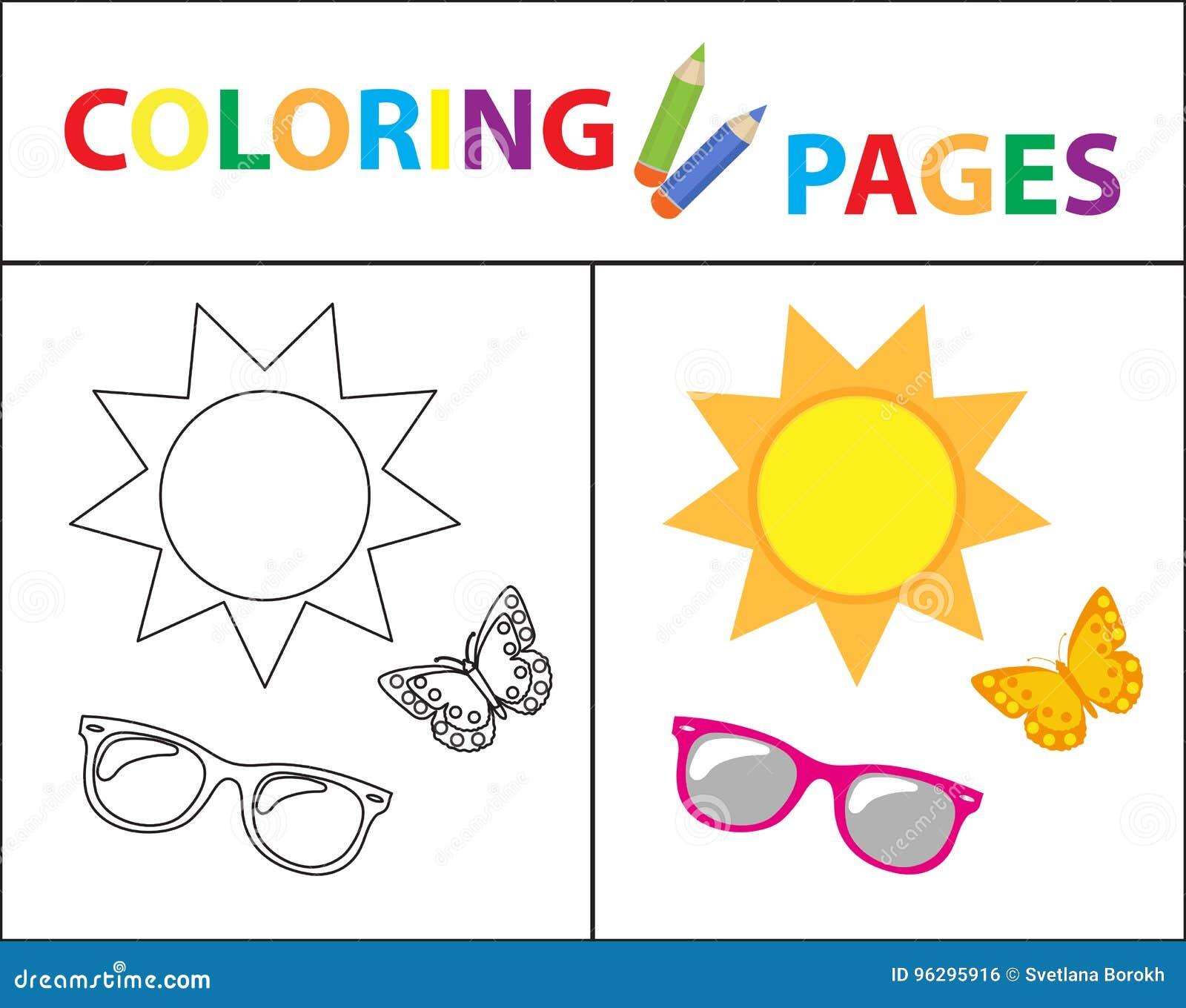Página Del Libro De Colorear Sistema Del Verano, Vidrios, Sol ...