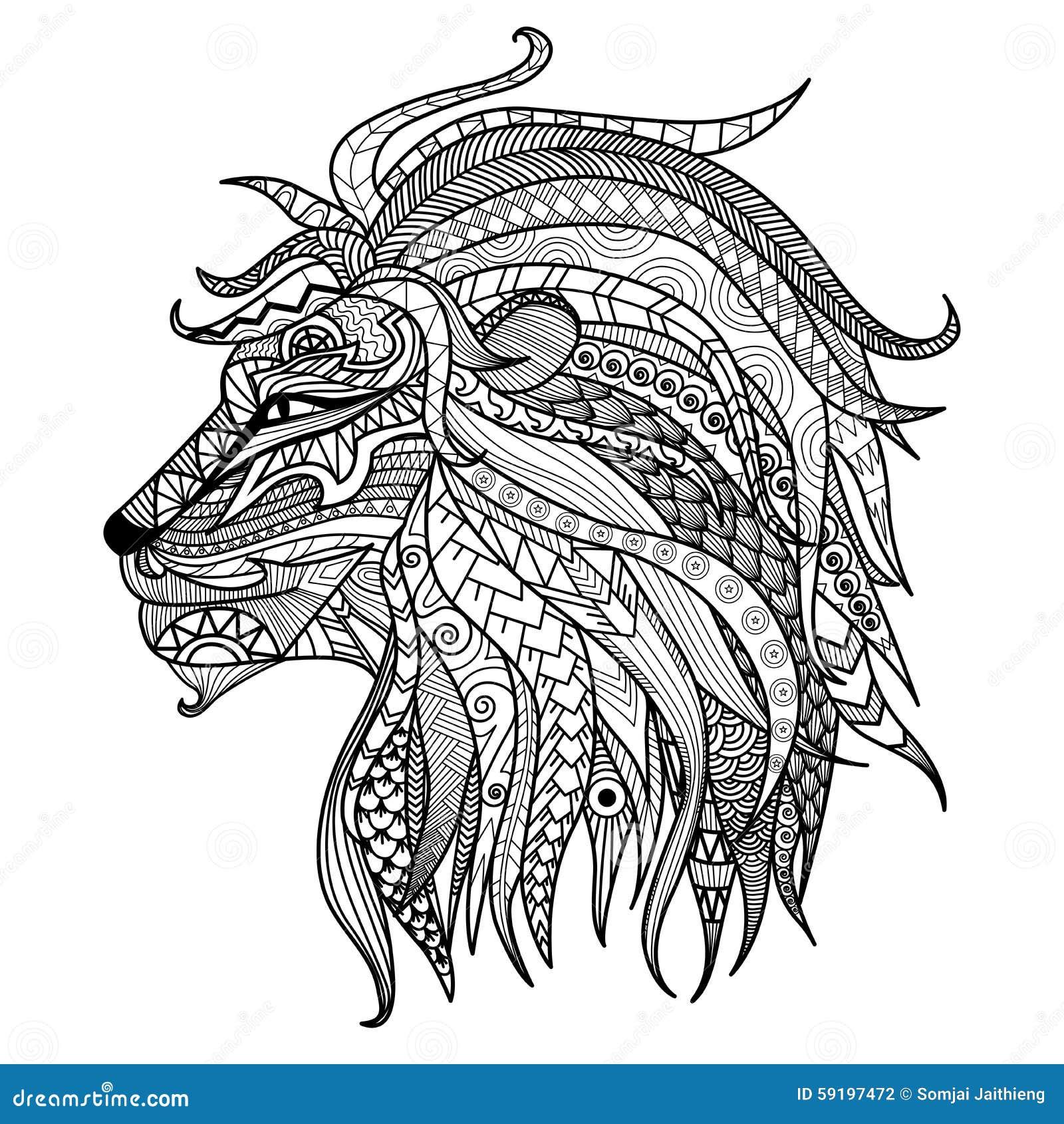 Página dibujada mano del colorante del león