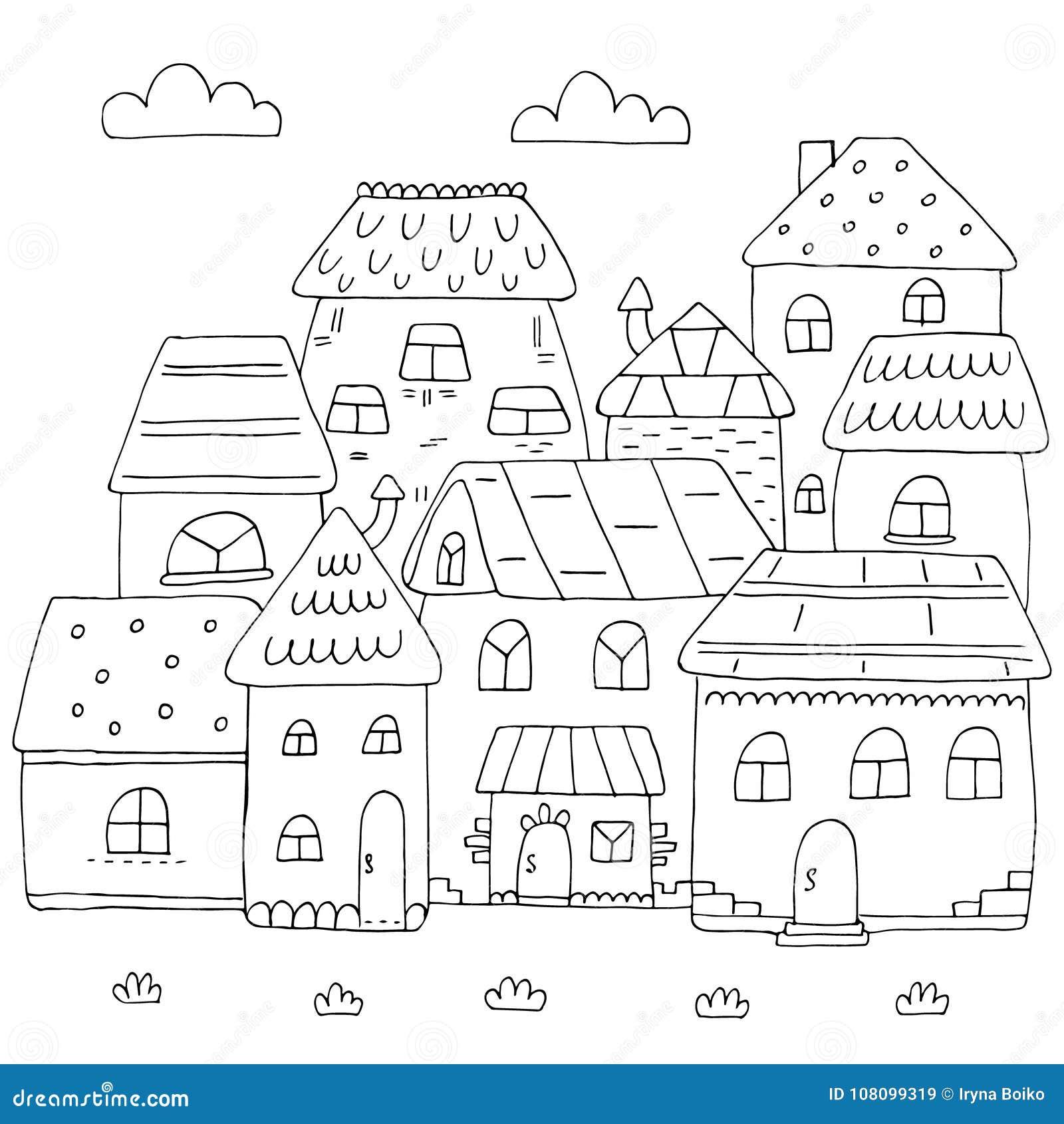 P gina dibujada mano para el libro de colorear con muchas for Paginas para disenar casas