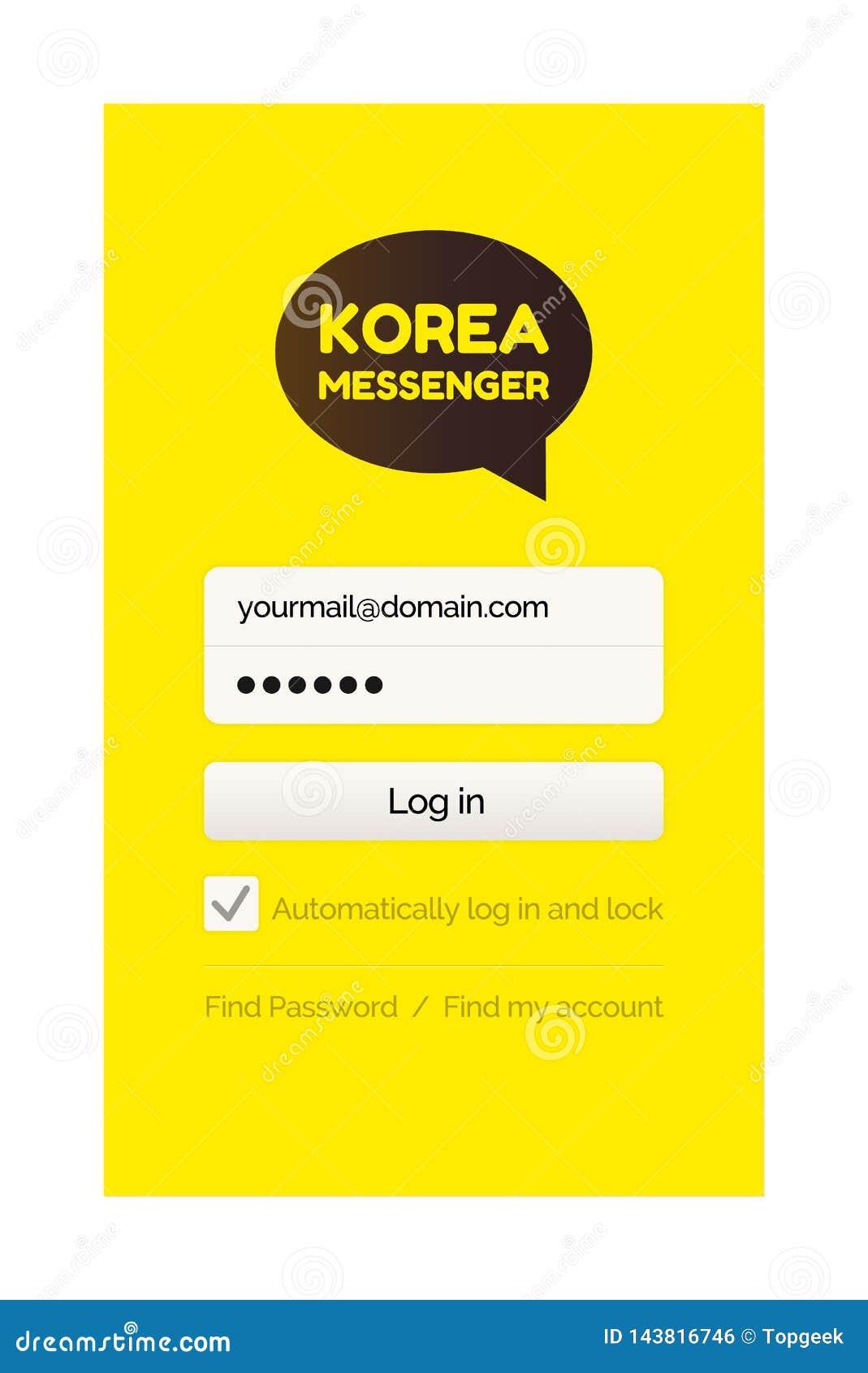 Página do começo do mensageiro com formulário e senha do início de uma sessão
