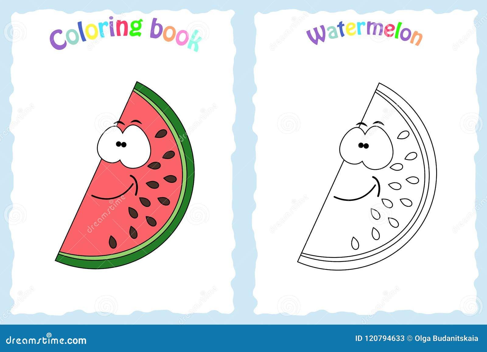 Pagina Do Livro Para Colorir Para Criancas Com Melancia Colorida