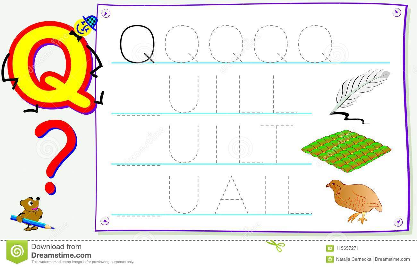 Página educativa para los niños jovenes con la letra Q para el inglés del estudio Habilidades que se convierten para escribir y l