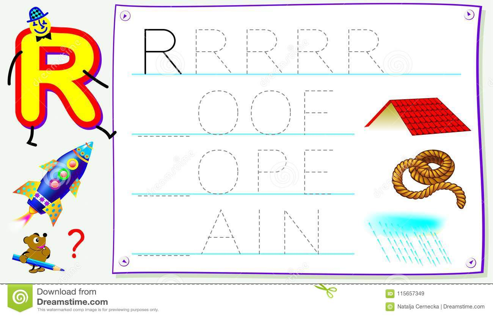 Página educativa para los niños jovenes con la letra R para el inglés del estudio Habilidades que se convierten para escribir y l