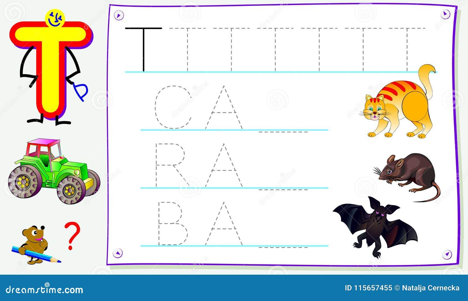 Página educativa para los niños jovenes con la letra T para el inglés del estudio Habilidades que se convierten para escribir y l
