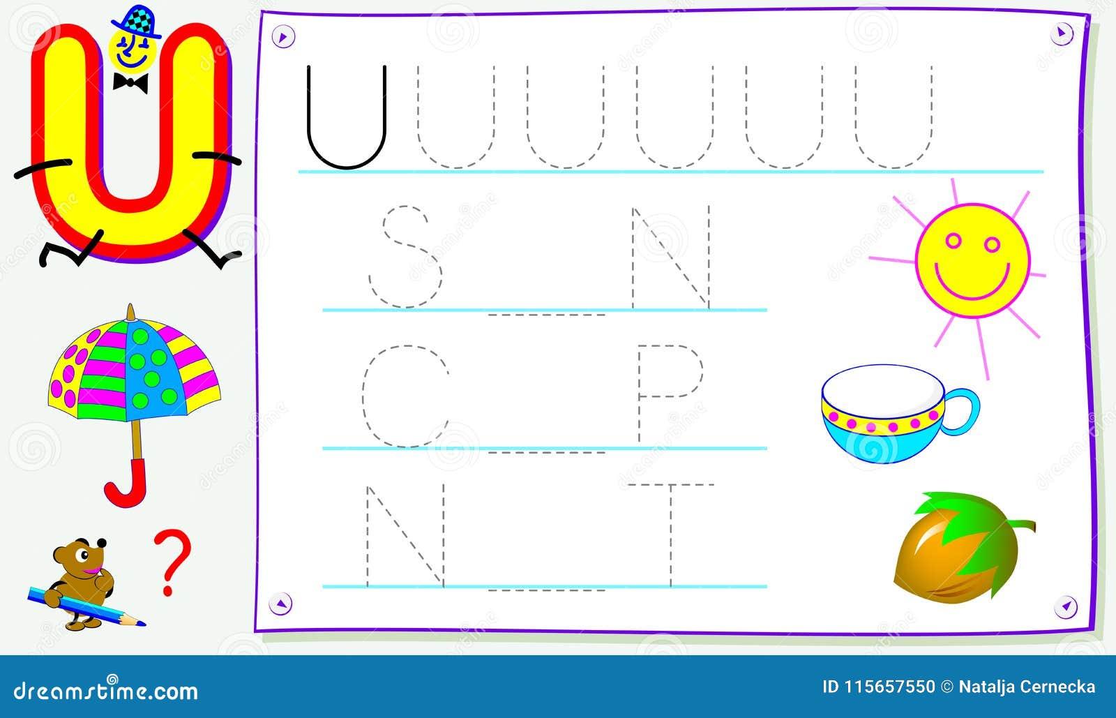Página educativa para los niños jovenes con la letra U para el inglés del estudio Habilidades que se convierten para escribir y l