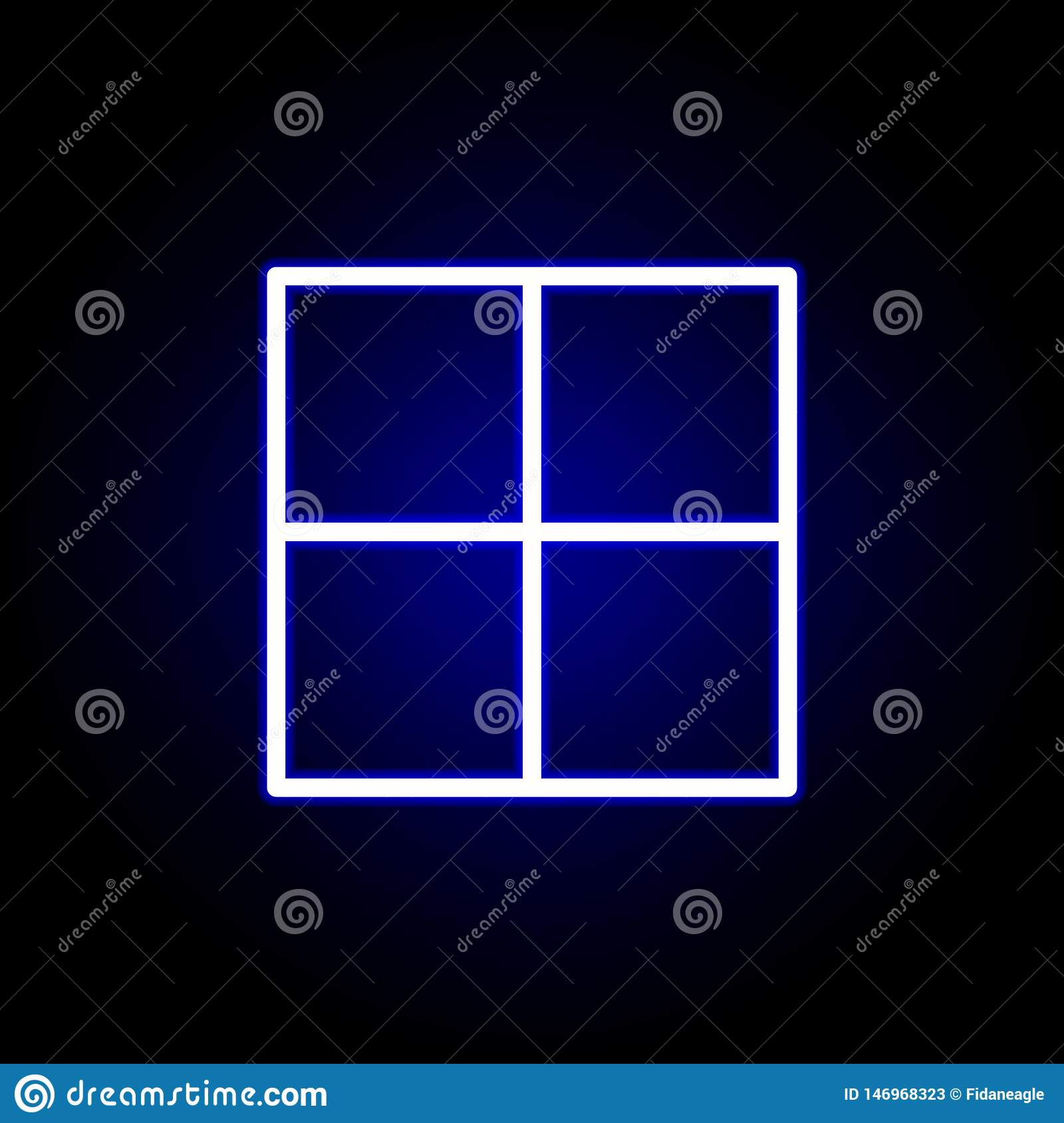 Página, icono de la división en el estilo de neón Puede ser utilizado para la web, logotipo, app m?vil, UI, UX