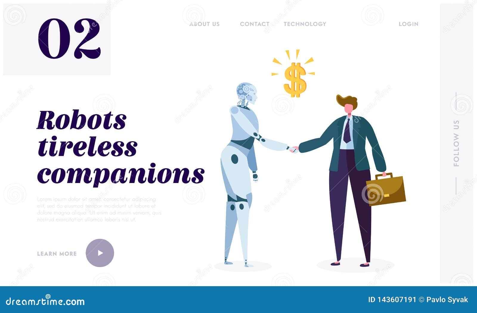 Página incansável da aterrissagem do companheiro do robô Máquina intrínseca do impulso da motivação a procurar a novidade, o desa