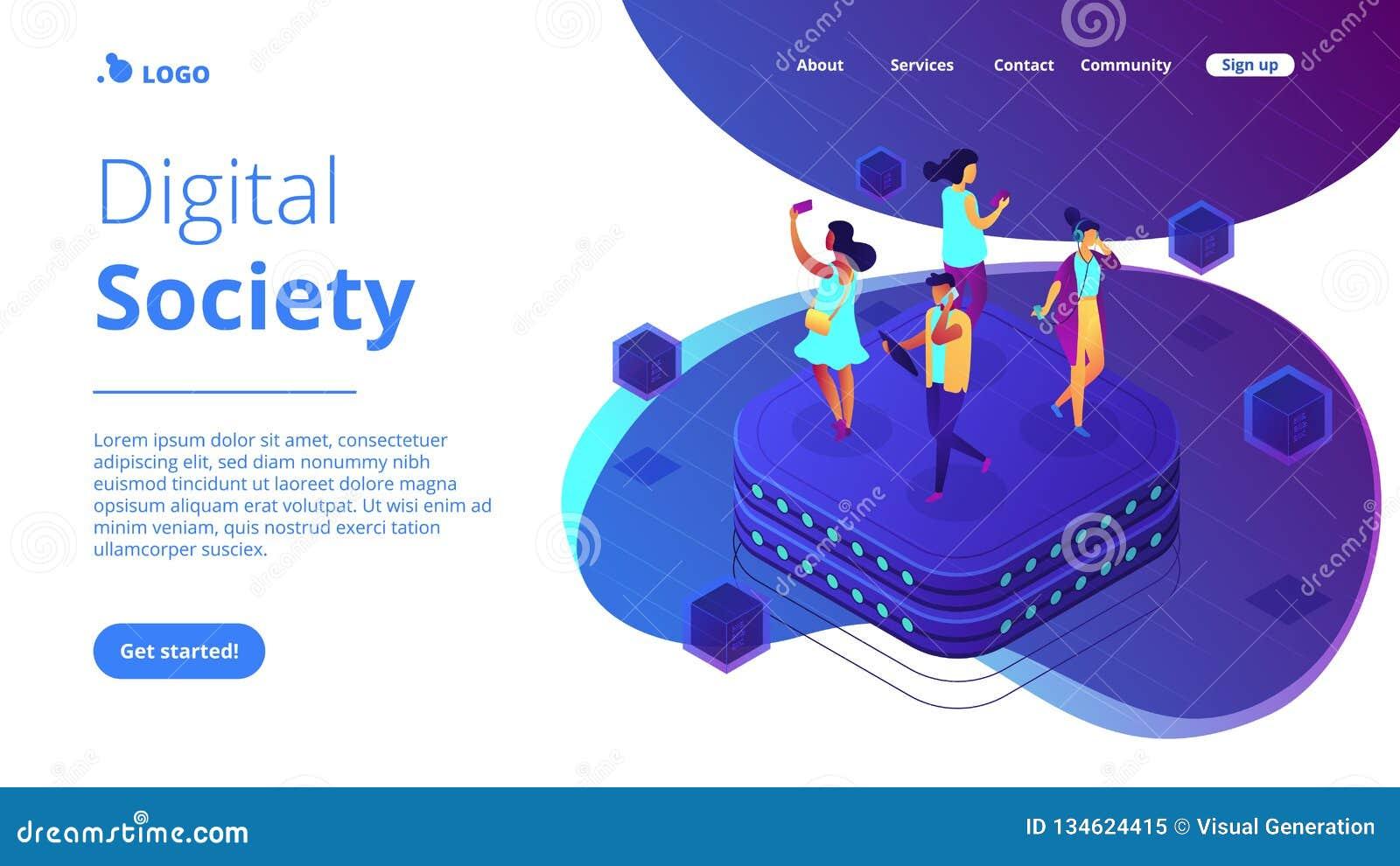 Página isométrica da aterrissagem 3D do comportamento social da rede