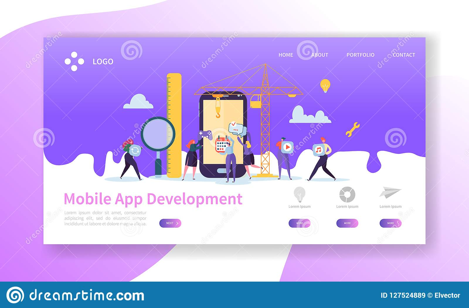 Página móvel da aterrissagem do desenvolvimento de aplicações Tecnologia da codificação com molde liso do Web site dos caráteres