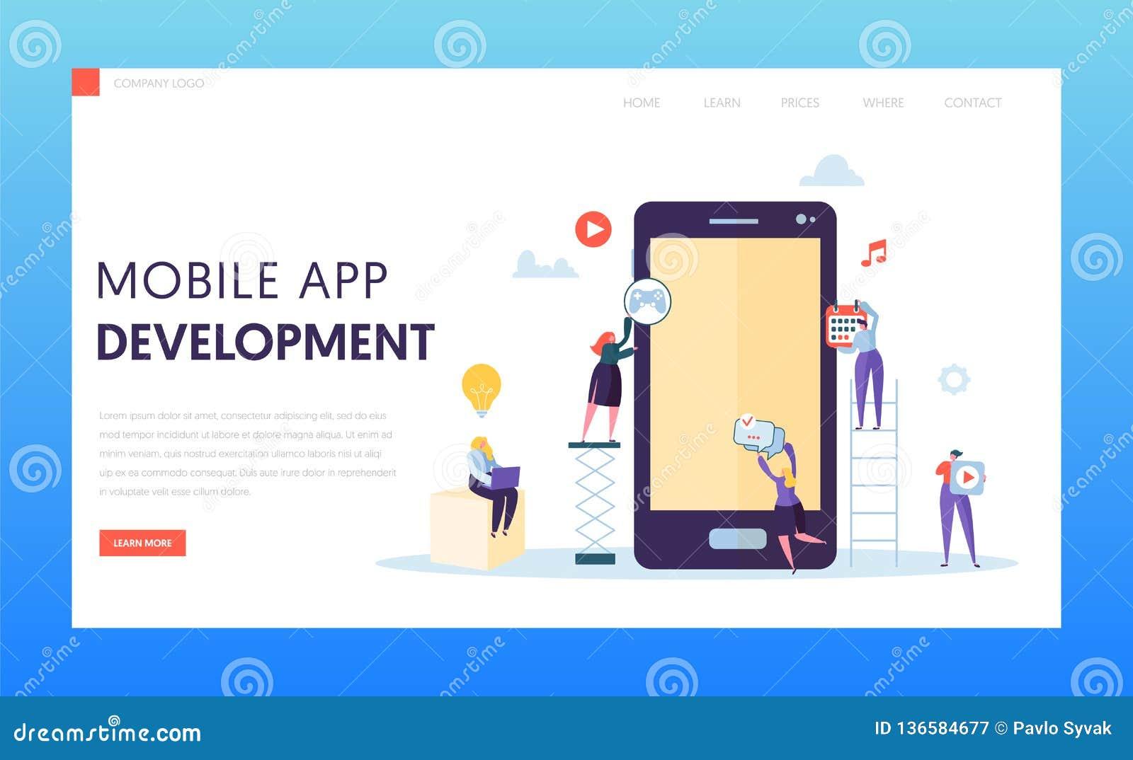 Página móvel da aterrissagem do teste do Ab do desenvolvimento do App O caráter do programador de software fornece o projeto da i