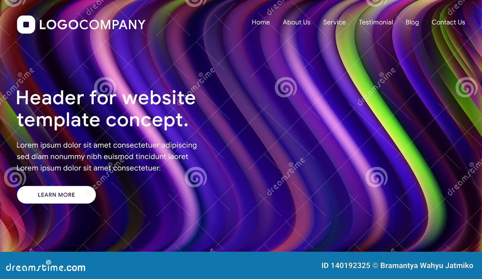 Página o diseño de aterrizaje responsiva de la plantilla de la web con el ejemplo isométrico 3D del fondo brillante flúido de la