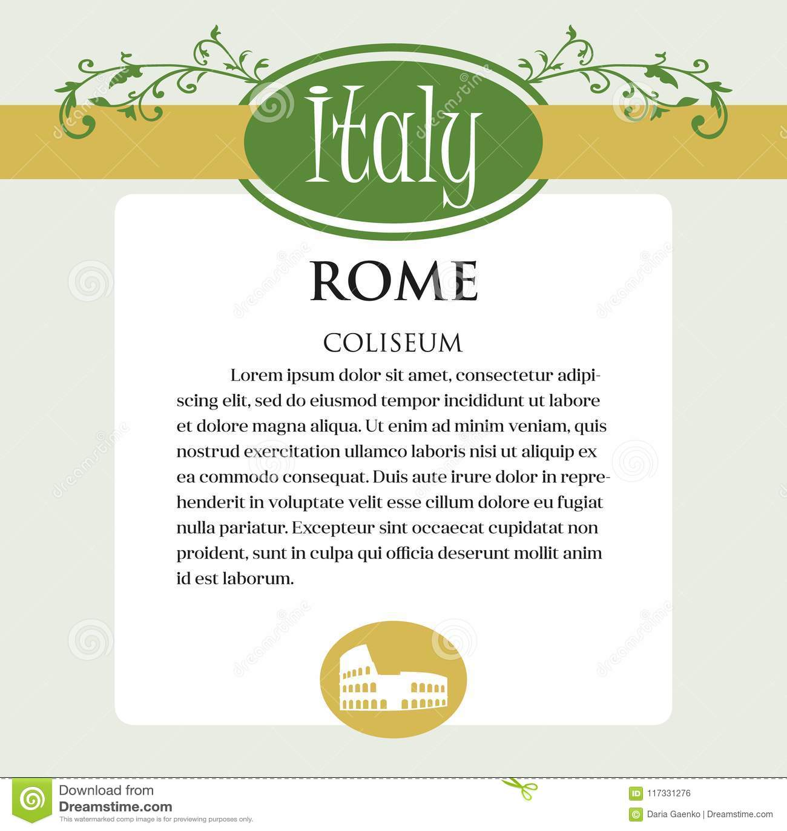 Página ou menu de Designe para produtos italianos Pode ser um guia com informação sobre a cidade italiana de Roma coliseum