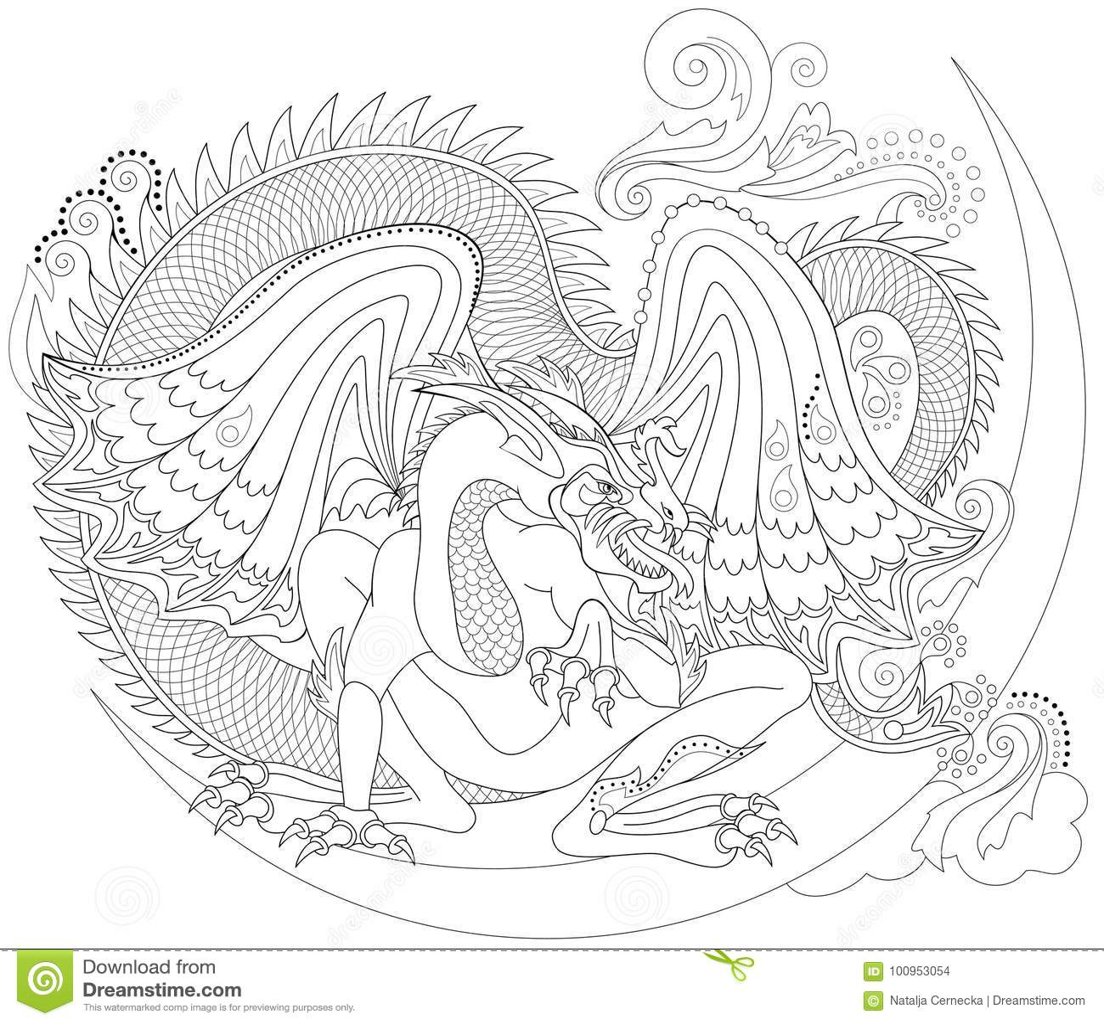 Pagina Preto E Branco Para Colorir Desenho Da Fantasia Do Dragao