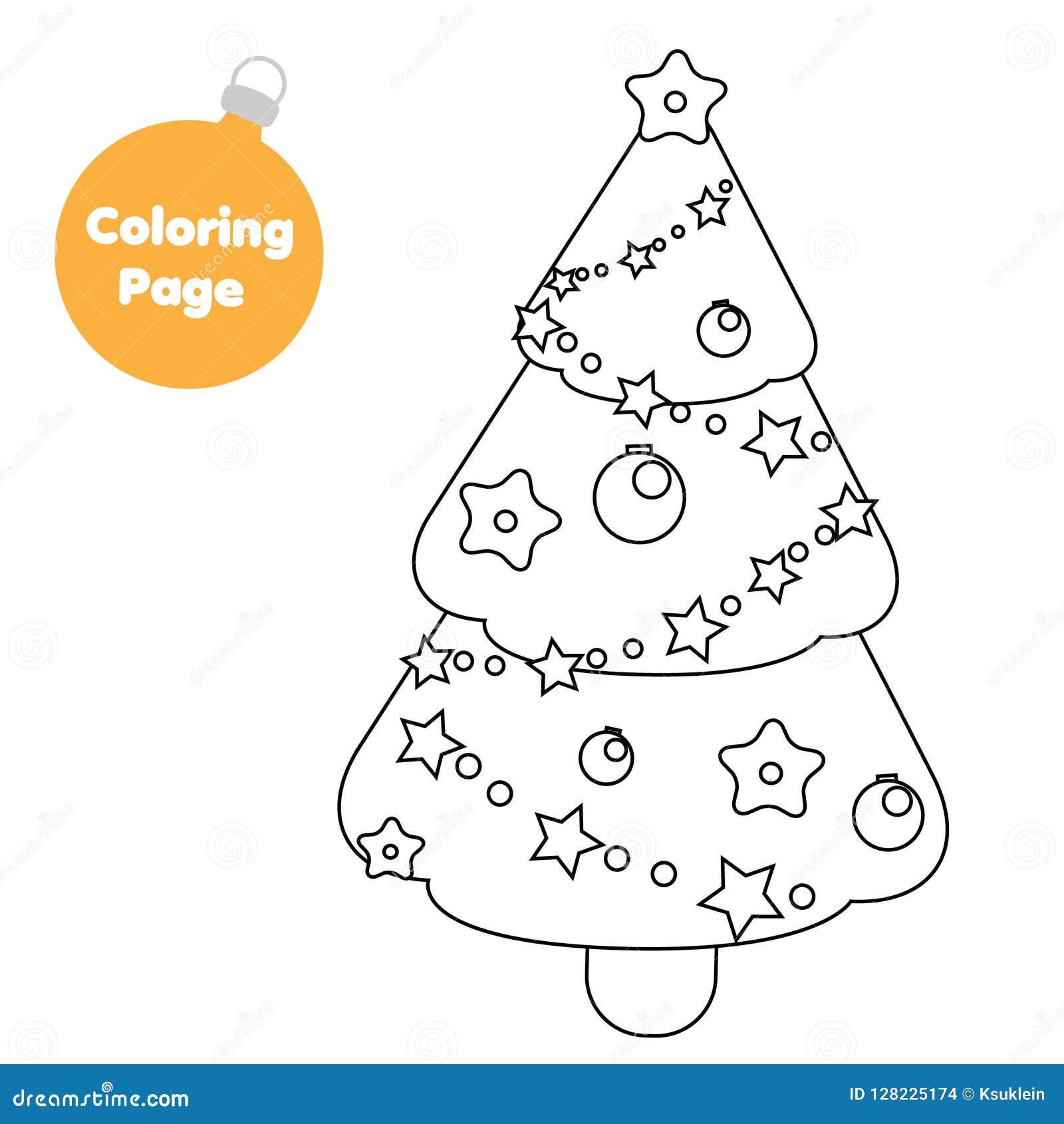 Página Que Colorea árbol De La Picea De La Navidad Del Año Nuevo