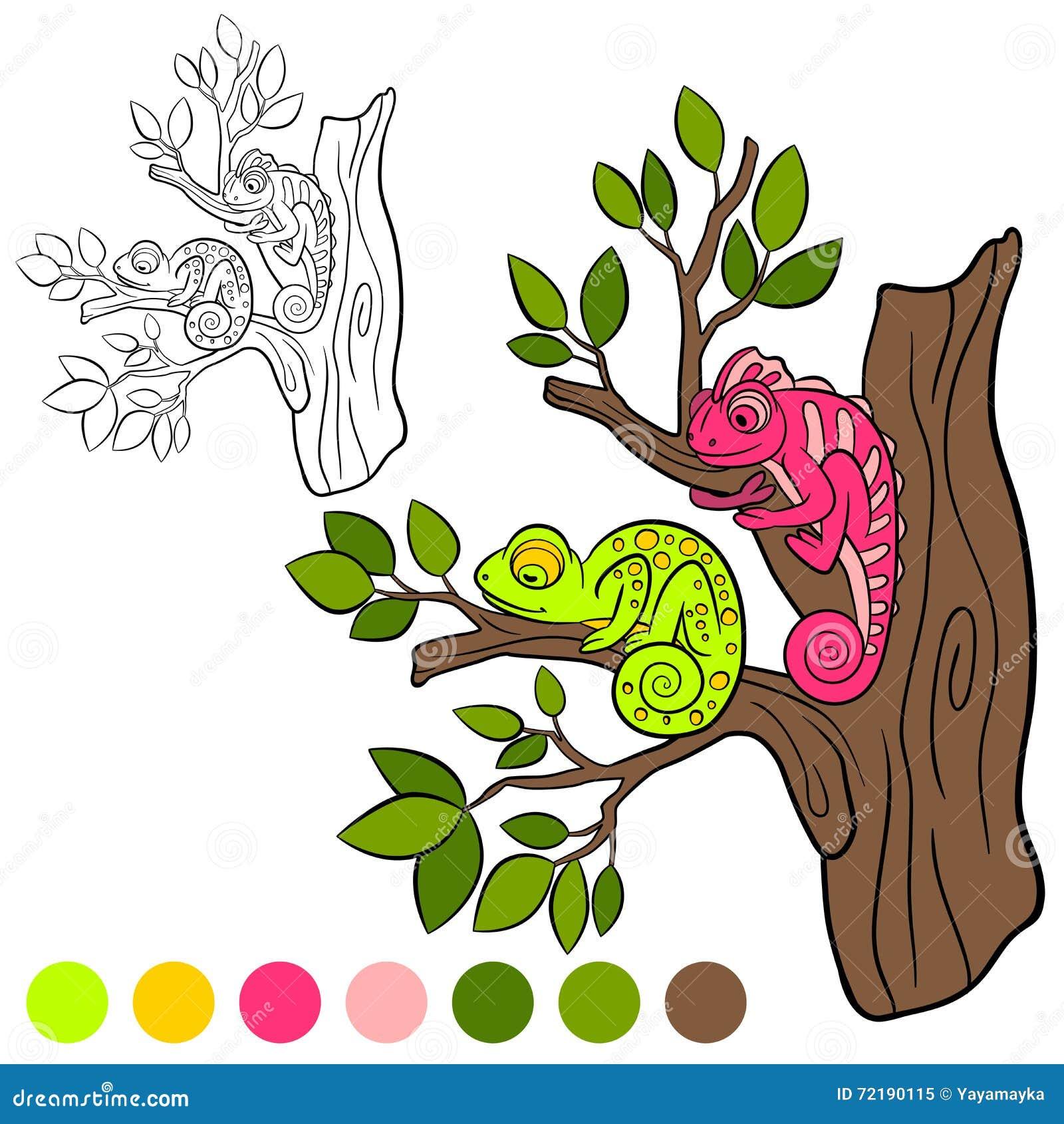 Página Que Colorea Coloréeme: Camaleón Dos Pequeños Camaleones ...