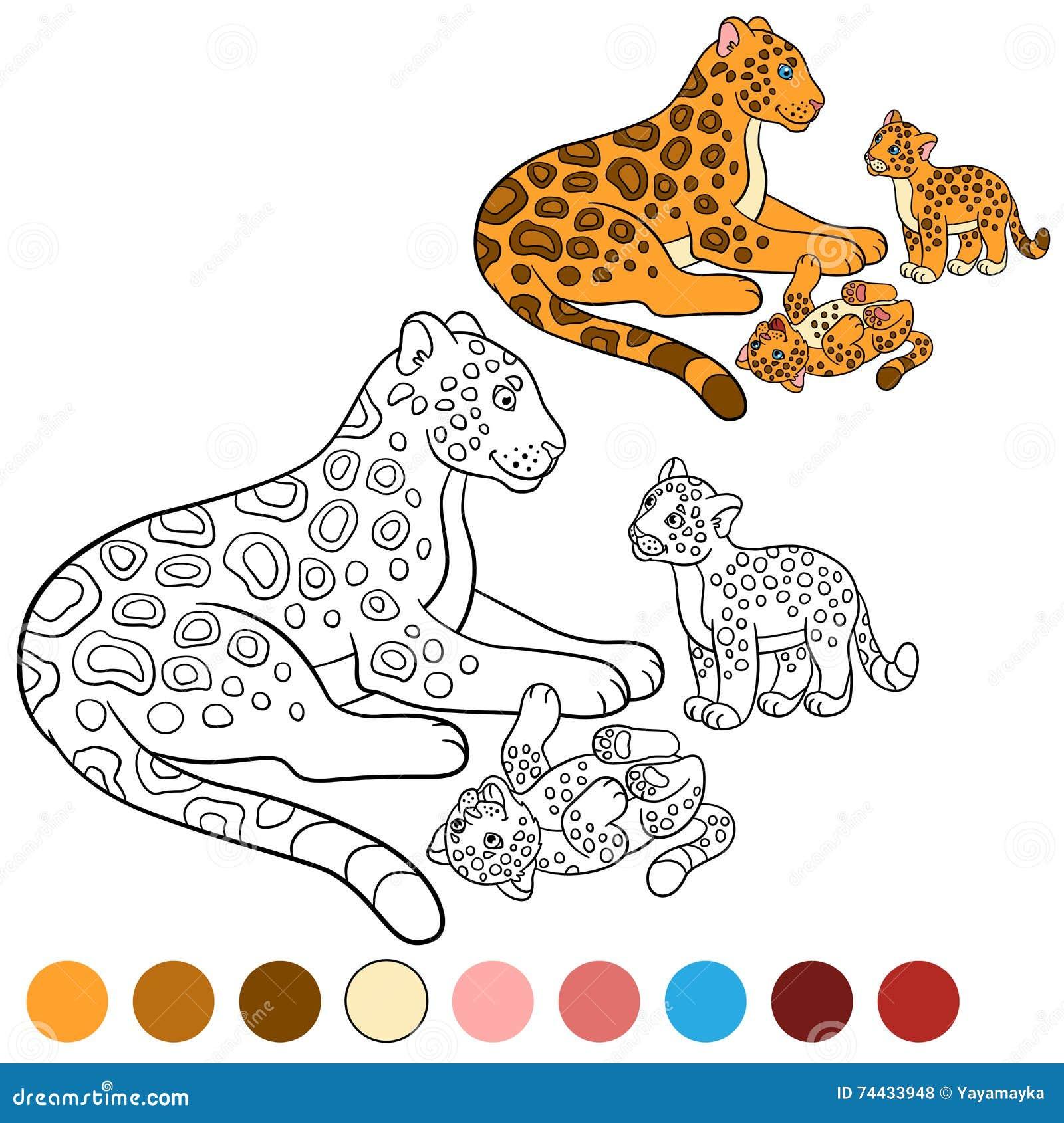 Página Que Colorea Con Colores Jaguar De La Madre Con Sus Cachorros