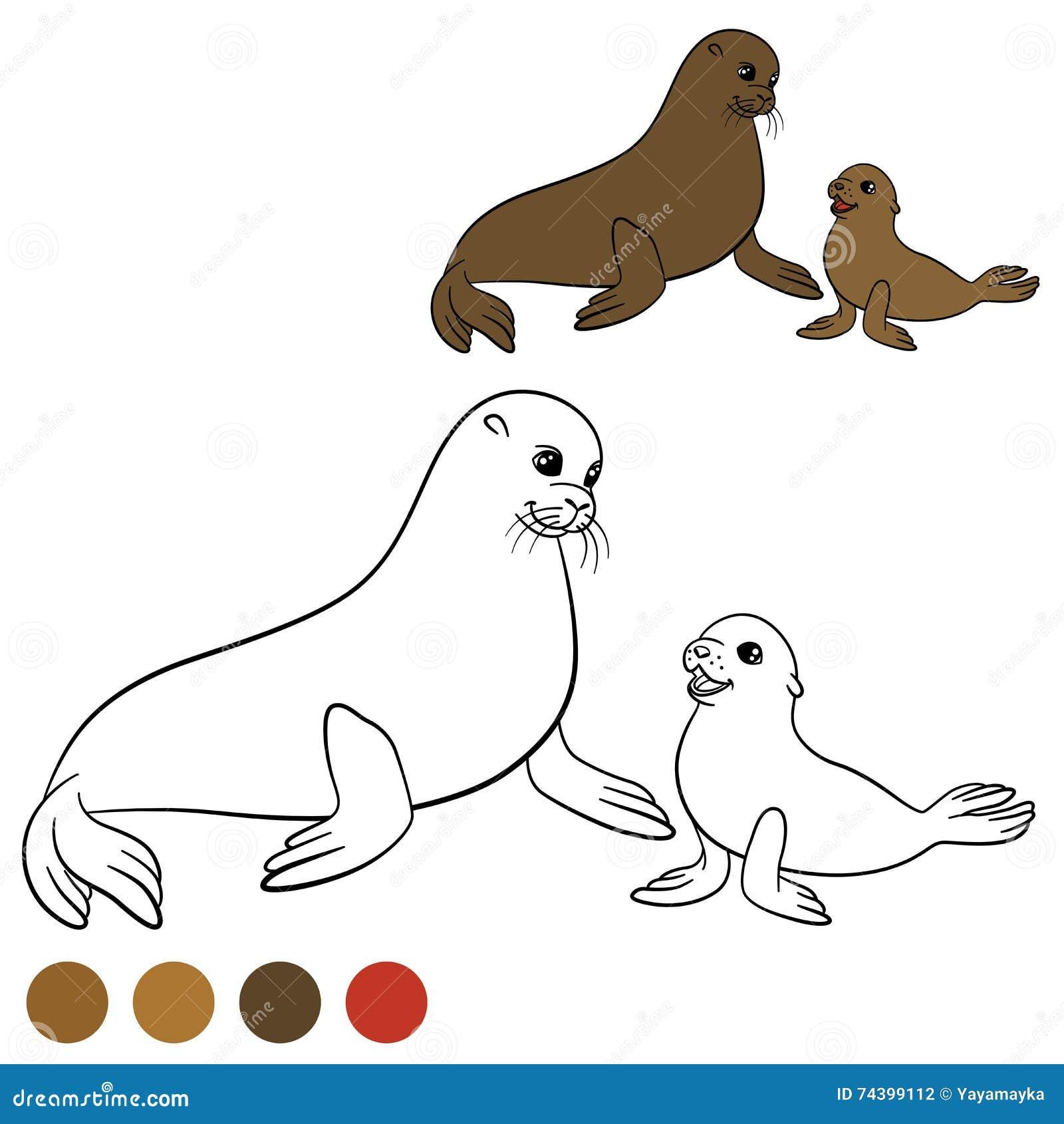 Página Que Colorea Con Colores Lobo Marino De La Madre Con Su Bebé ...