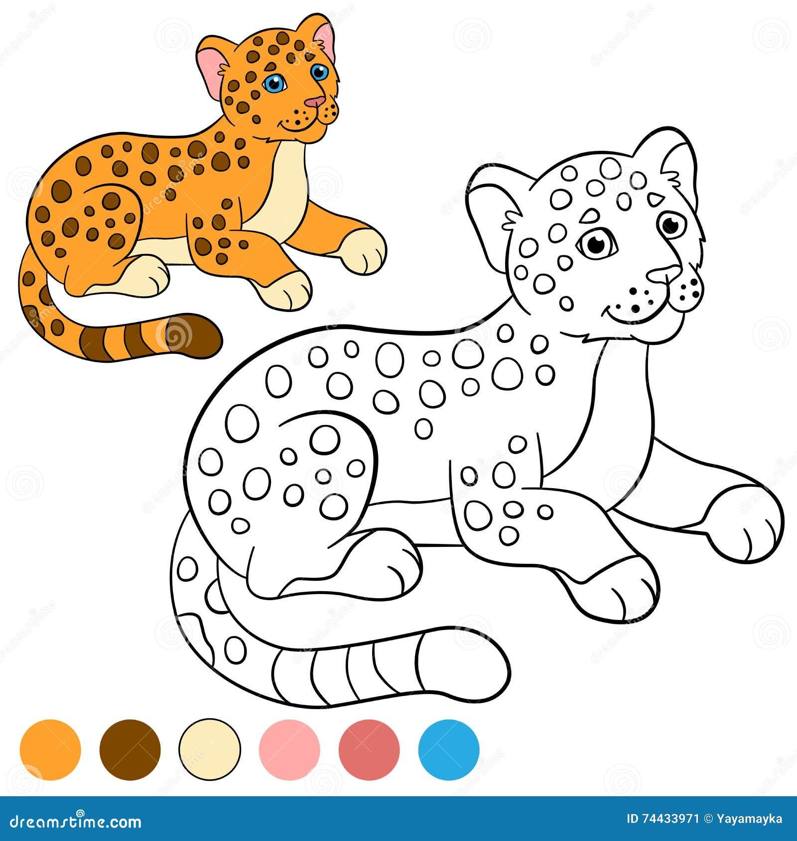 Página Que Colorea Con Colores Pequeño Jaguar Lindo Del Bebé