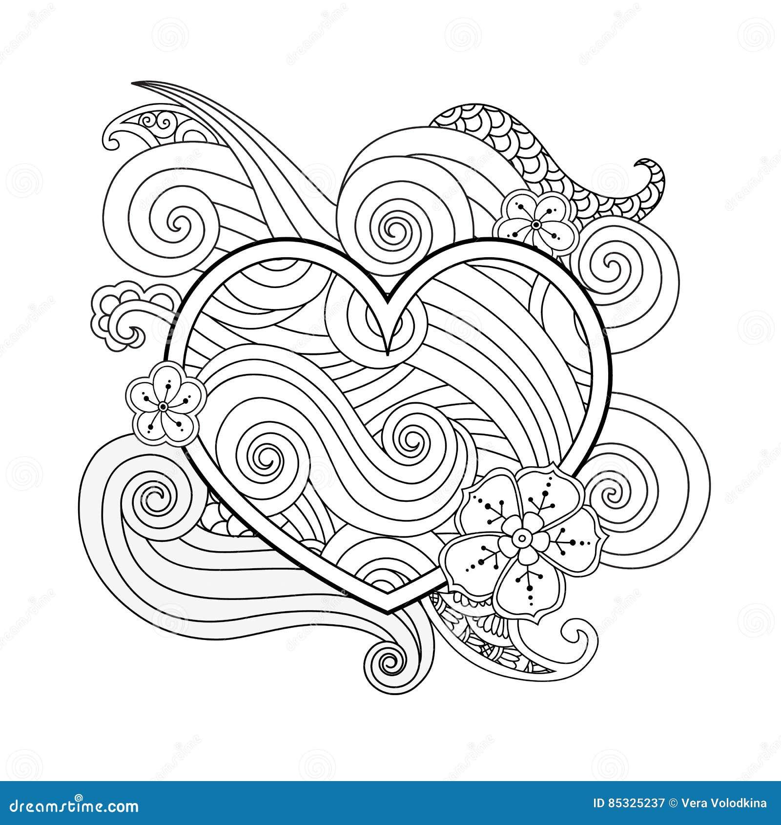 Página Que Colorea Con El Corazón Y El Elemento Abstracto Aislados ...