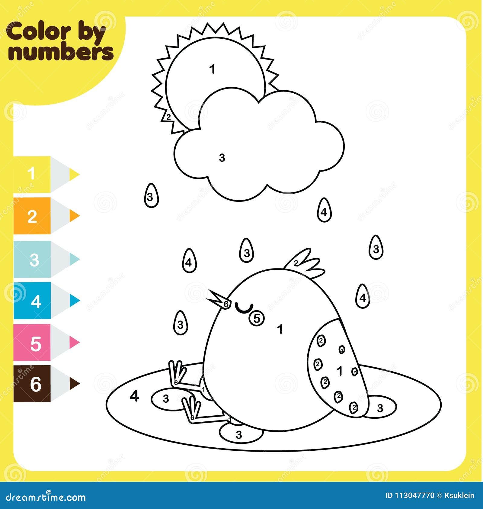Página Que Colorea Con El Pollo Color Por Números, Hoja De Trabajo ...