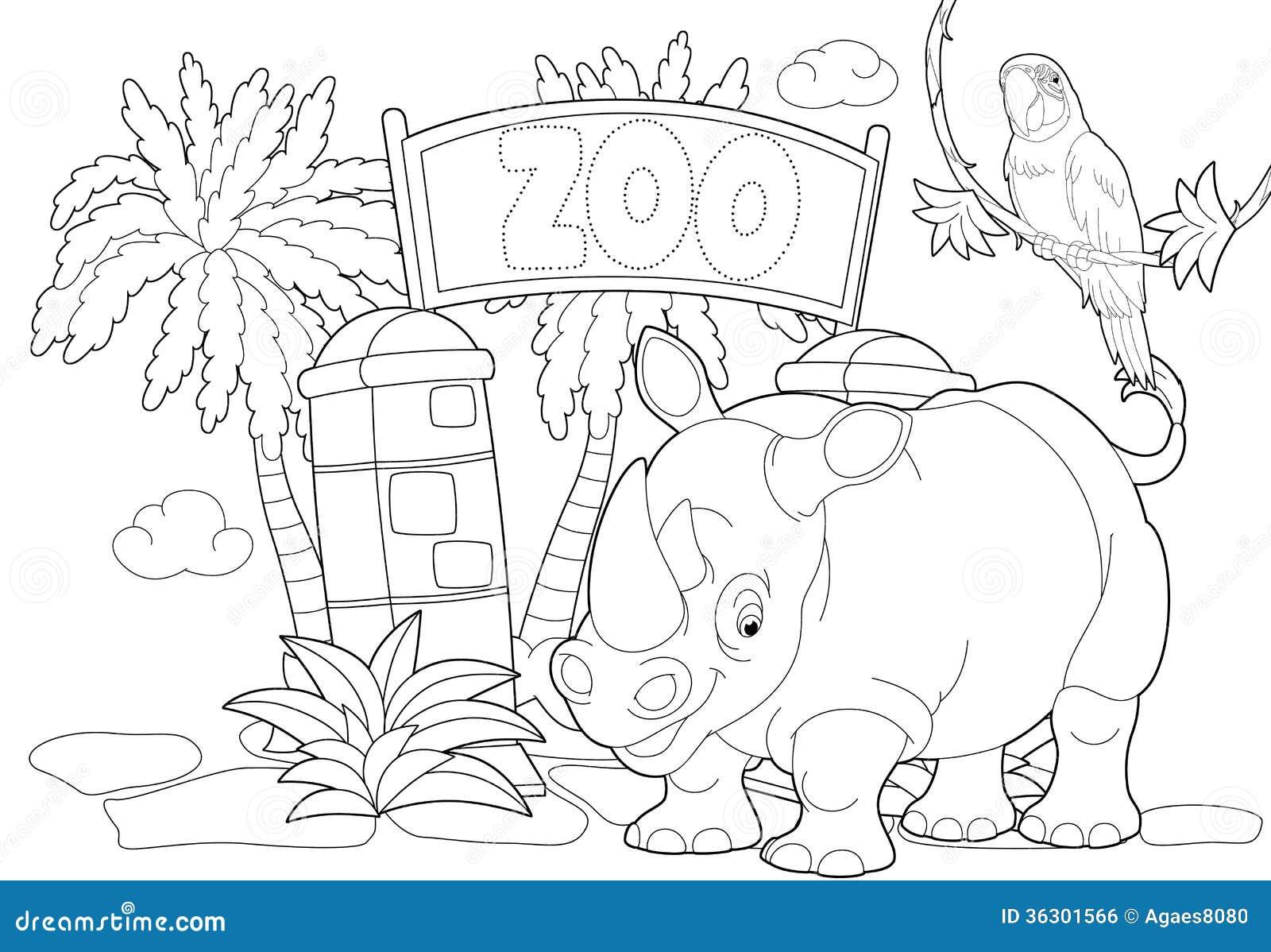Página Que Colorea - El Parque Zoológico - Ejemplo Para Los Niños ...