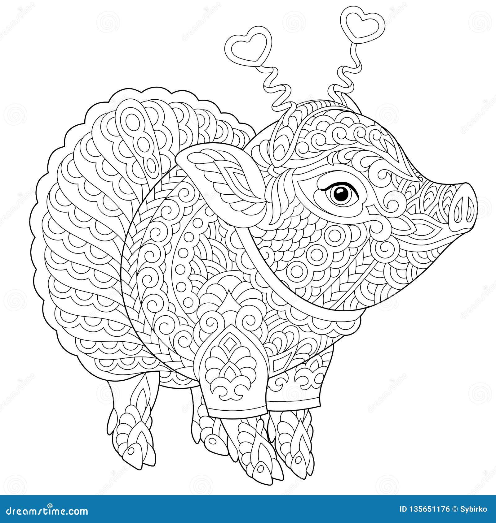 Página que colorea guarra del cerdo de Zentangle