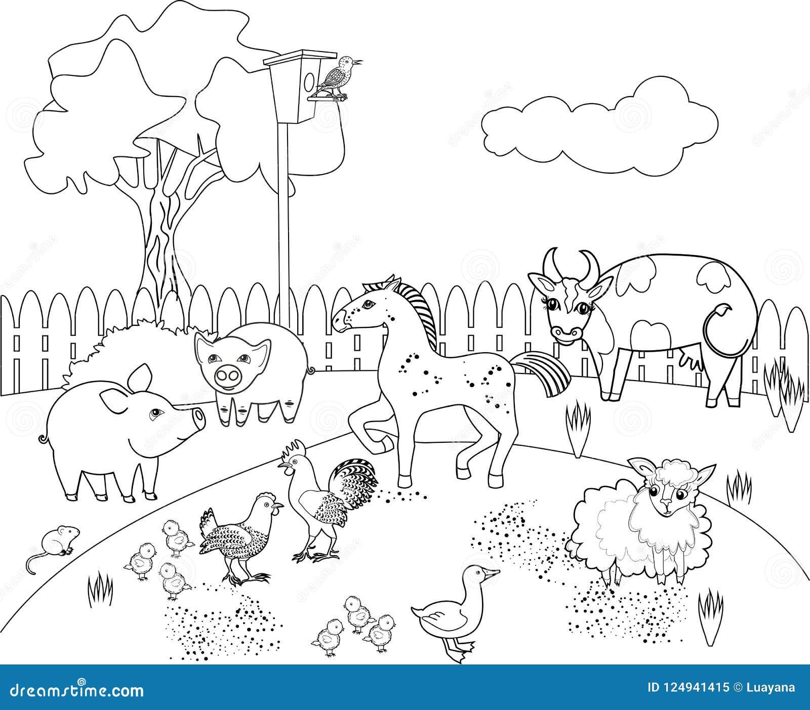 Página Que Colorea Paisaje Rural Con Diversos Animales Del