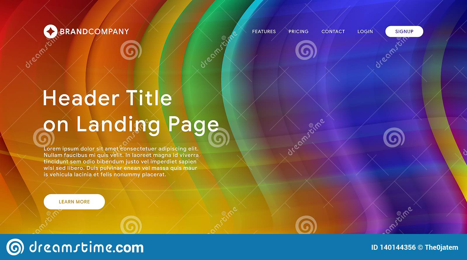 Página web o página móvil del aterrizaje del app con el ejemplo del diseño y de la pendiente geométricos mínimos coloridos del fo