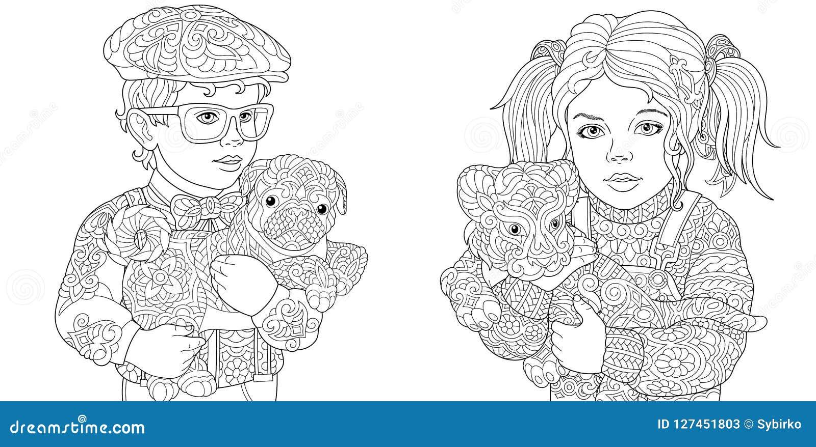 Paginas Da Coloracao Com O Menino E A Menina Que Guardam Animais