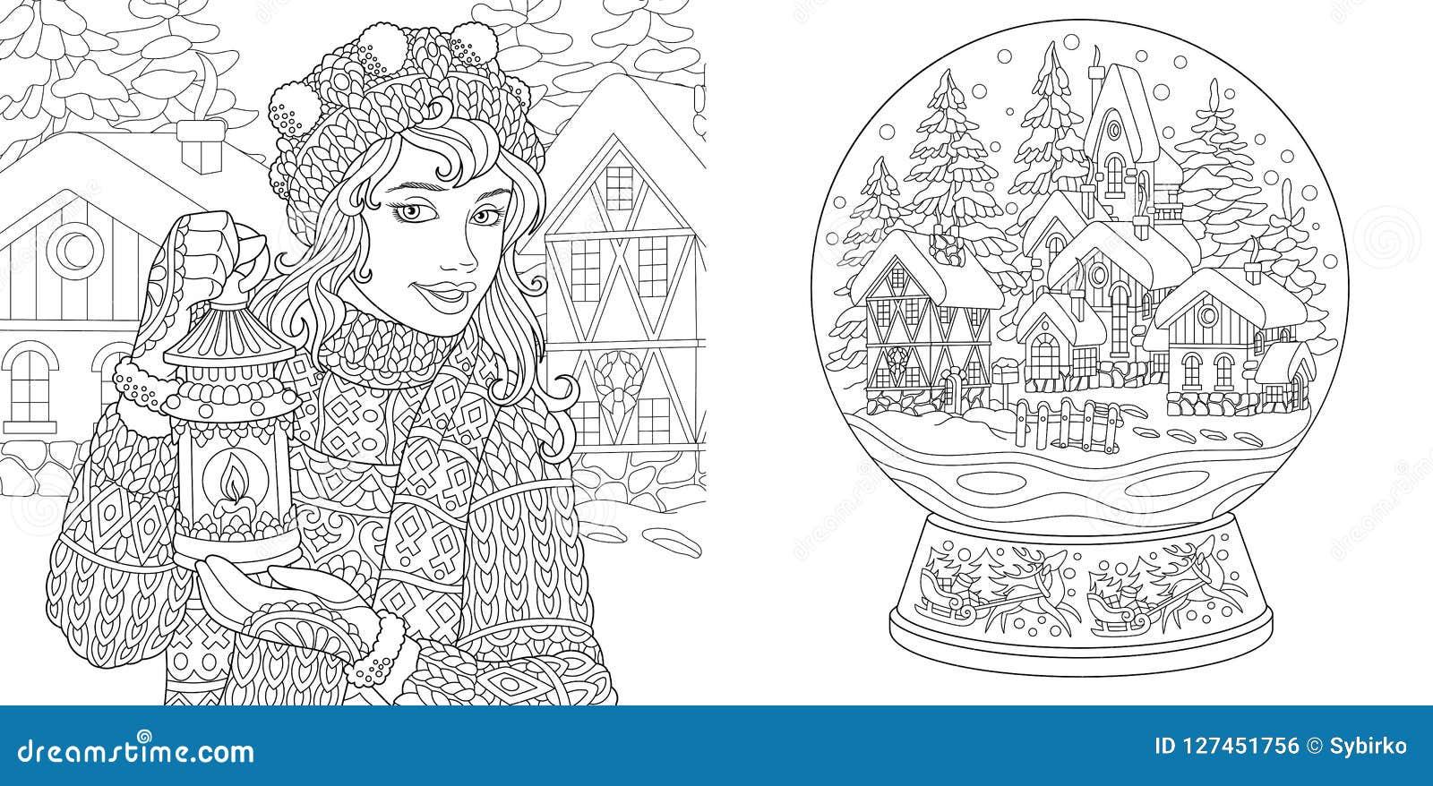 Páginas del colorante con la muchacha del invierno y la bola de la nieve de la magia