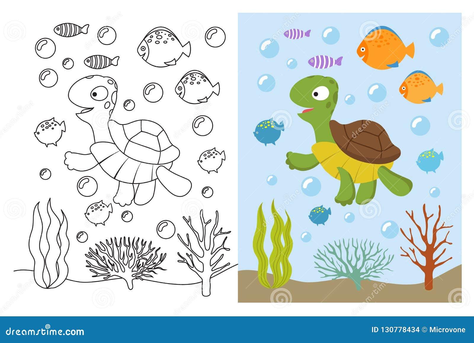 Páginas Del Colorante De La Tortuga Animales De Mar De La Historieta