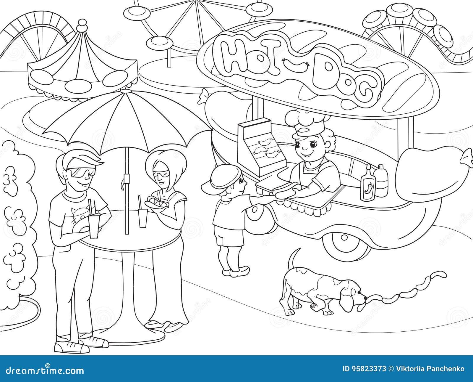 Páginas Del Colorante Del Parque De Atracciones Para Los Niños ...